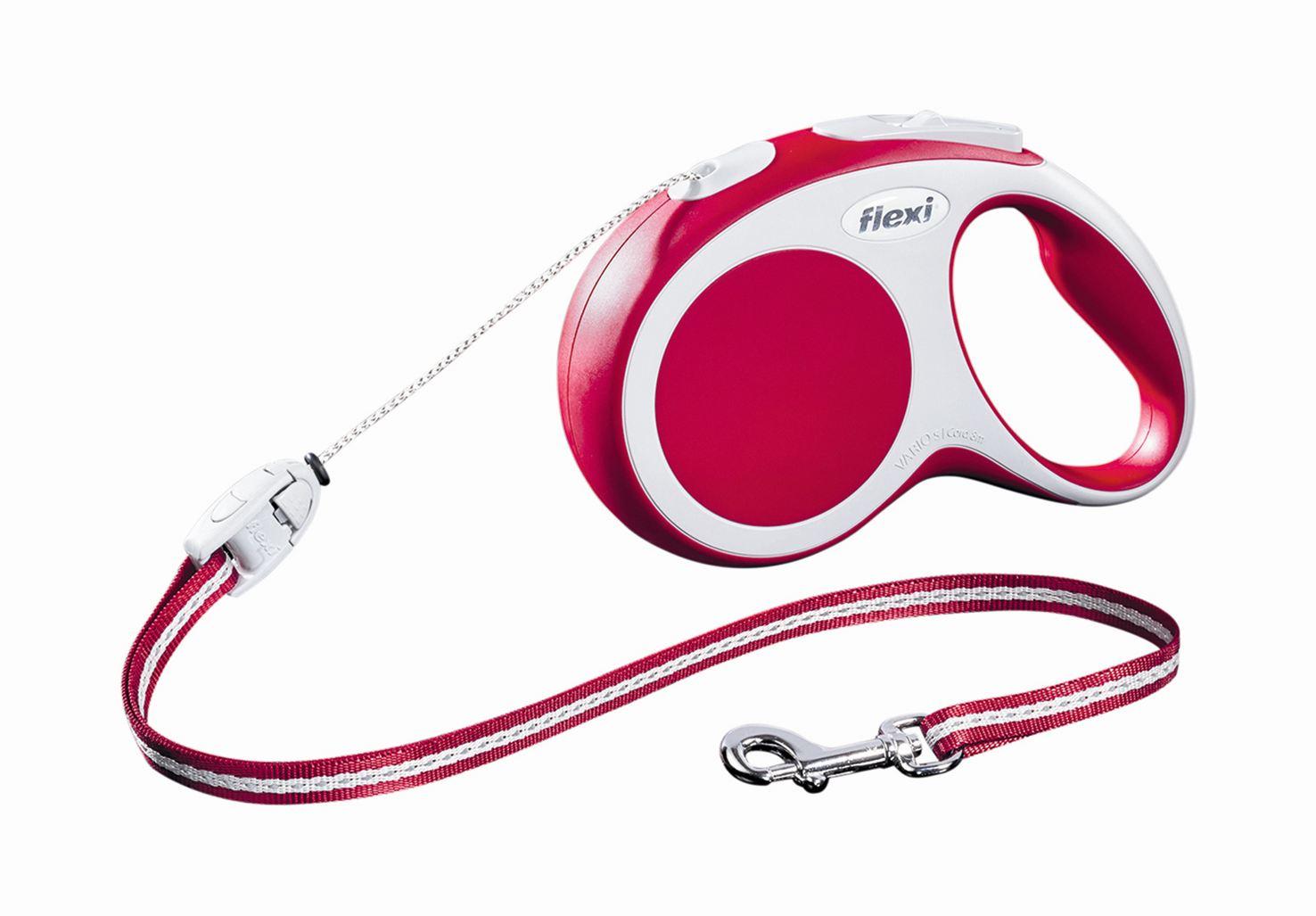 Поводок-рулетка Flexi Vario Long S для собак до 12 кг, цвет: красный, 8 м0120710Поводок-рулетка Flexi Vario Long S изготовлен из пластика и нейлона. Тросовый поводок обеспечивает каждой собаке свободу движения, что идет на пользу здоровью и радует вашего четвероногого друга. Рулетка очень проста в использовании, оснащена кнопками кратковременной и постоянной фиксации. Ее можно оснастить - мультибоксом для лакомств или пакетиков для сбора фекалий, LED подсветкой корпуса, своркой или ремнем с LED подсветкой. Поводок имеет прочный корпус, хромированную застежку и светоотражающие элементы.Длина поводка: 8 м. Максимальная нагрузка: 12 кг.Товар сертифицирован.