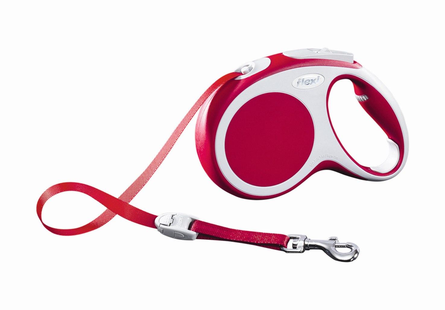 Поводок-рулетка Flexi Vario Compact М для собак до 25 кг, цвет: красный, 5 м0120710Поводок-рулетка Flexi Vario Compact М изготовлен из пластика и нейлона. Ленточный поводок обеспечивает каждой собаке свободу движения, что идет на пользу здоровью и радует вашего четвероногого друга. Рулетка очень проста в использовании, оснащена кнопками кратковременной и постоянной фиксации. Ее можно оснастить - мультибоксом для лакомств или пакетиков для сбора фекалий, LED подсветкой корпуса, своркой или ремнем с LED подсветкой. Поводок имеет прочный корпус, хромированную застежку и светоотражающие элементы.Длина поводка: 5 м. Максимальная нагрузка: 25 кг.Товар сертифицирован.