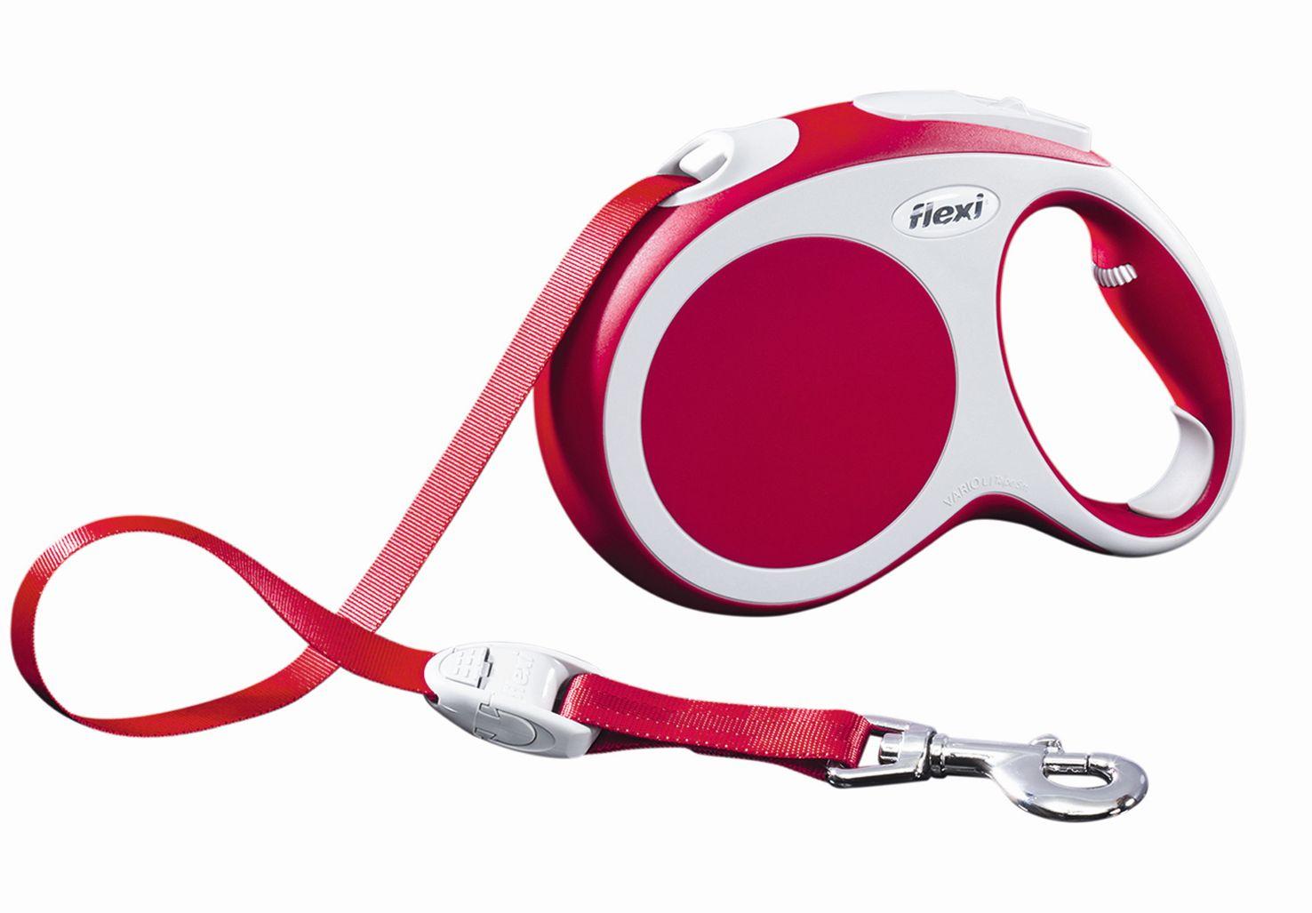 Поводок-рулетка Flexi Vario Compact L для собак до 60 кг, цвет: красный, 5 м020111Поводок-рулетка Flexi Vario Compact L изготовлен из пластика и нейлона. Подходит для собак весом до 60 кг. Ленточный поводок обеспечивает каждой собаке свободу движения, что идет на пользу здоровью и радует вашего четвероногого друга. Рулетка очень проста в использовании. Она оснащена кнопками кратковременной и постоянной фиксации. Ее можно оснастить мультибоксом для лакомств или пакетиков для сбора фекалий, LED подсветкой корпуса, своркой или ремнем с LED подсветкой. Поводок имеет прочный корпус, хромированную застежку и светоотражающие элементы.Длина поводка: 5 м. Максимальная нагрузка: 60 кг.Товар сертифицирован.