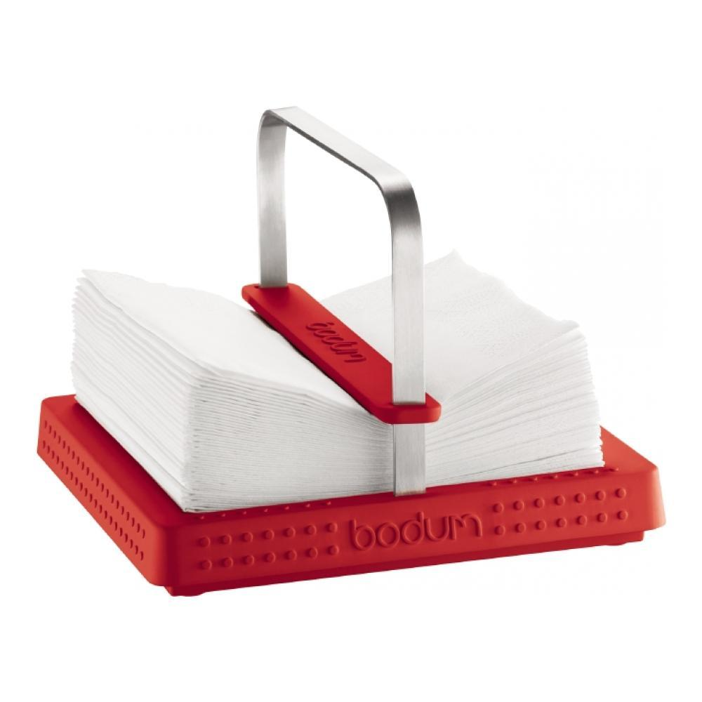 Подставка под салфетки Bodum Bistro, цвет: красный, 20 х 20 см115510Универсальная подставка Bodum Bistro позволяет зафиксировать сразу всю пачку салфеток!Ее прорезиненное нескользящее основание чрезвычайно устойчиво- теперь для того чтобы вынуть салфетку, придерживать подставкувторой рукой вовсе необязательно!