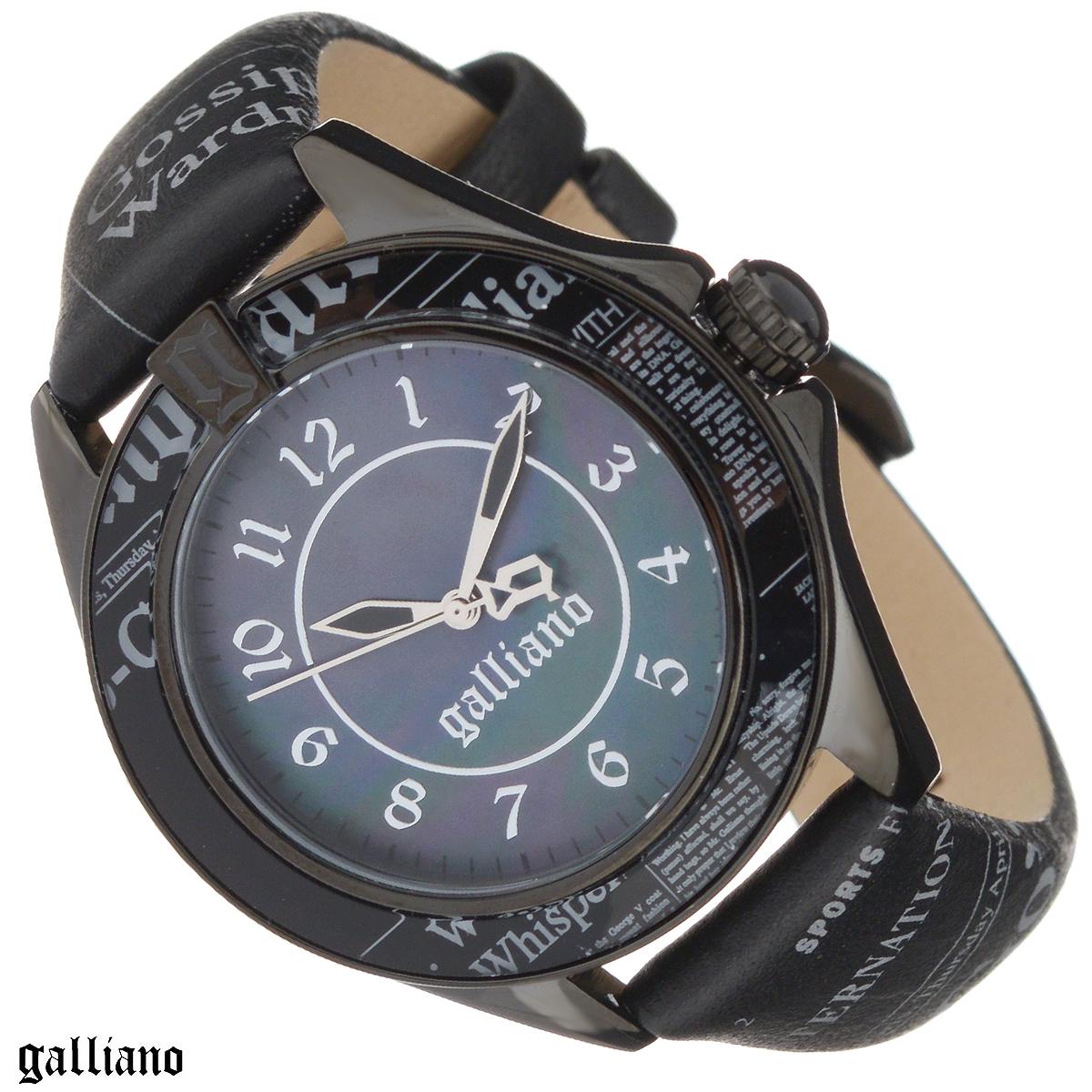 Часы женские наручные Galliano, цвет: черный. R2551105502ML597BUL/DНаручные женские часы Galliano оснащены кварцевым механизмом. Корпус выполнен из высококачественной нержавеющей стали, безель из высокотехнологичной смолы. Циферблат из натурального перламутра с арабскими цифрами защищен минеральным стеклом. Часы имеют три стрелки - часовую, минутную и секундную. Ремешок часов выполнен из натуральной кожи и оснащен классической застежкой. Заводная головка с защитой украшена камнем в форме кабошона. Ремешок, циферблат и безель украшены фирменным принтом Galliano газета.Часы укомплектованы паспортом с подробной инструкцией. Часы Galliano благодаря своему великолепному дизайну и качеству исполнения станут главным акцентом вашего образа. Характеристики: Диаметр циферблата: 3 см.Размер корпуса: 3,8 см х 4,5 см х 0,9 см.Длина ремешка (с корпусом): 21,5 см.Ширина ремешка: 1,7 см.