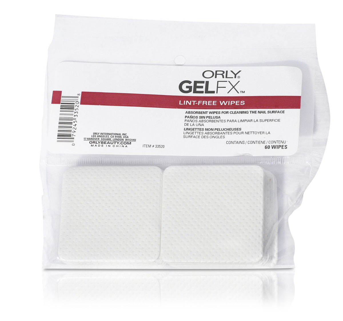 Orly Спонжи безворсовые для ногтей Gel FX, 60 шт616-103659Безворсовые салфетки используются для подготовки ногтей к процедуре гель-маникюр и удаления липкого слоя, не оставляют разводов и волосков.Товар сертифицирован.