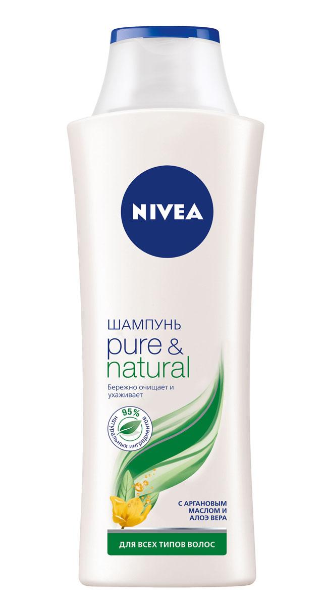 NIVEA Шампунь Pure & Natural 400 млMP59.4DПОЧУВСТВУЙТЕ ЗАБОТУ О ВАШИХ ВОЛОСАХ! С обновленной линейкой средств по уходу за волосами от NIVEA Ваши волосы выглядят красивыми и здоровыми, и к ним приятно прикасаться. Для всех типов волос.Как это работаетВы хотите, чтобы сама природа позаботилась о Ваших волосах? Шампунь PURE&NATURAL с Аргановым маслом и Алоэ Вера: •содержит 95% натуральных ингредиентов•не содержит силиконов, парабенов и красителей•бережно очищает волосы, не утяжеляя их•подходит для всех типов волос Аргановое масло является богатым источником полиненасыщенных жирных кислот и витамина Е, концентрация которого в нем выше, чем в оливковом, в 3 раза. Аргановое масло укрепляет и питает волосы, восстанавливая структуру и предотвращая сечение кончиков. Алоэ Вера обладает уникальной способностью впитывать и удерживать влагу. Экстракт Алоэ Вера глубоко увлажняет и как бы запечатывает влагу в структуре волоса, делая его плотнее, не утяжеляя при этом волосы. НАТУРАЛЬНАЯ ЗАБОТА О ВОЛОСАХ.