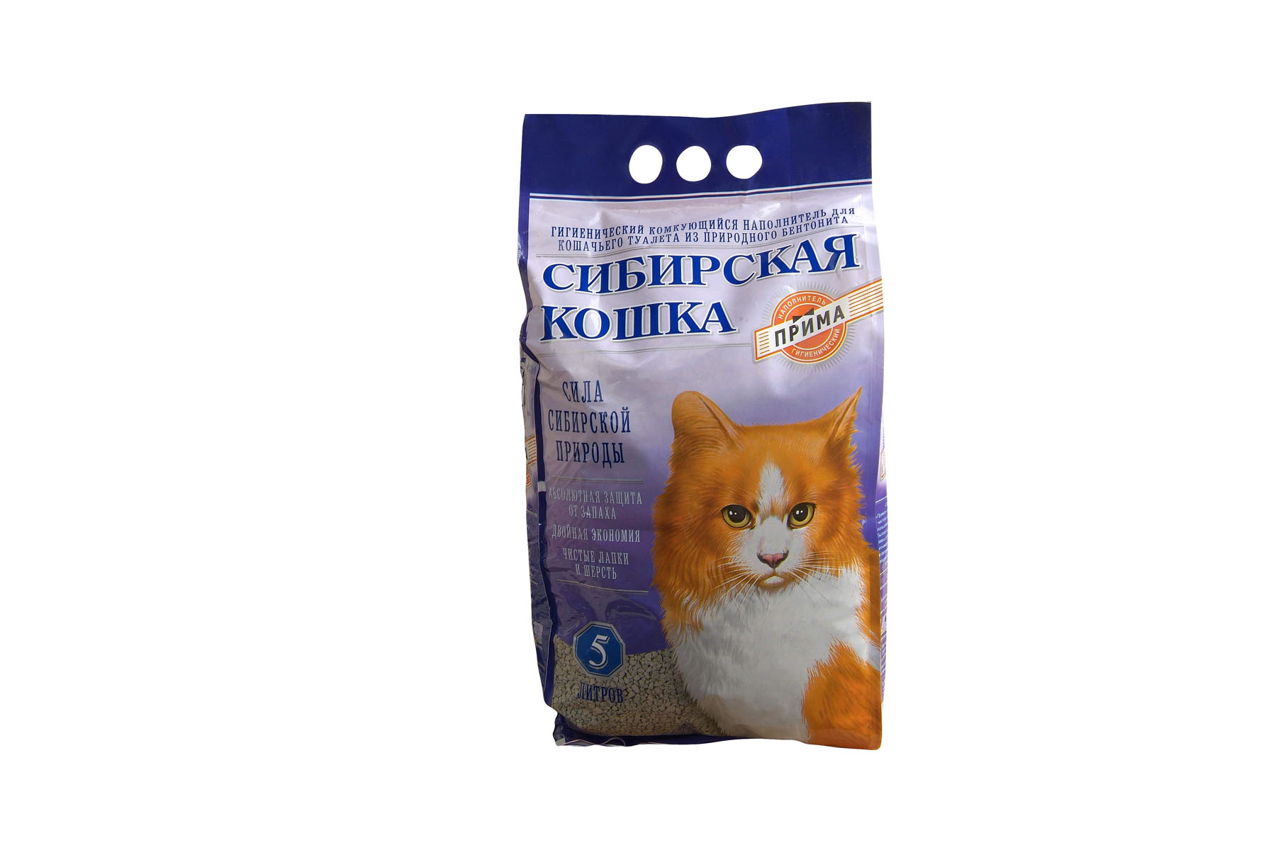 Наполнитель для кошачьих туалетов Сибирская Кошка Прима, 5 л наполнитель для кошачьих туалетов кошкин секрет древесный 2 5 кг