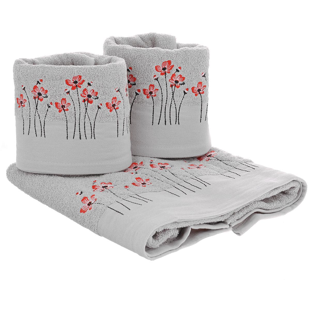 Набор махровых полотенец Красные цветы, цвет: серый, 3 шт1004900000360Набор Красные цветы состоит из трех полотенец разного размера, выполненных из натуральной махровой ткани. Полотенца украшены изящной вышивкой в виде цветов. Мягкие и уютные, они прекрасно впитывают влагу и легко стираются. Такой набор подарит массу положительных эмоций и приятных ощущений.Рекомендации по уходу: - не следует стирать вместе с изделиями из полиэстра или другого синтетического материала,- стирать при температуре 40-50°С, - химчистка запрещена, - не рекомендуется отбеливать, - сушить в деликатном режиме. Размер полотенец: 50 см х 90 см (2 шт), 70 см х 140 см (1 шт).