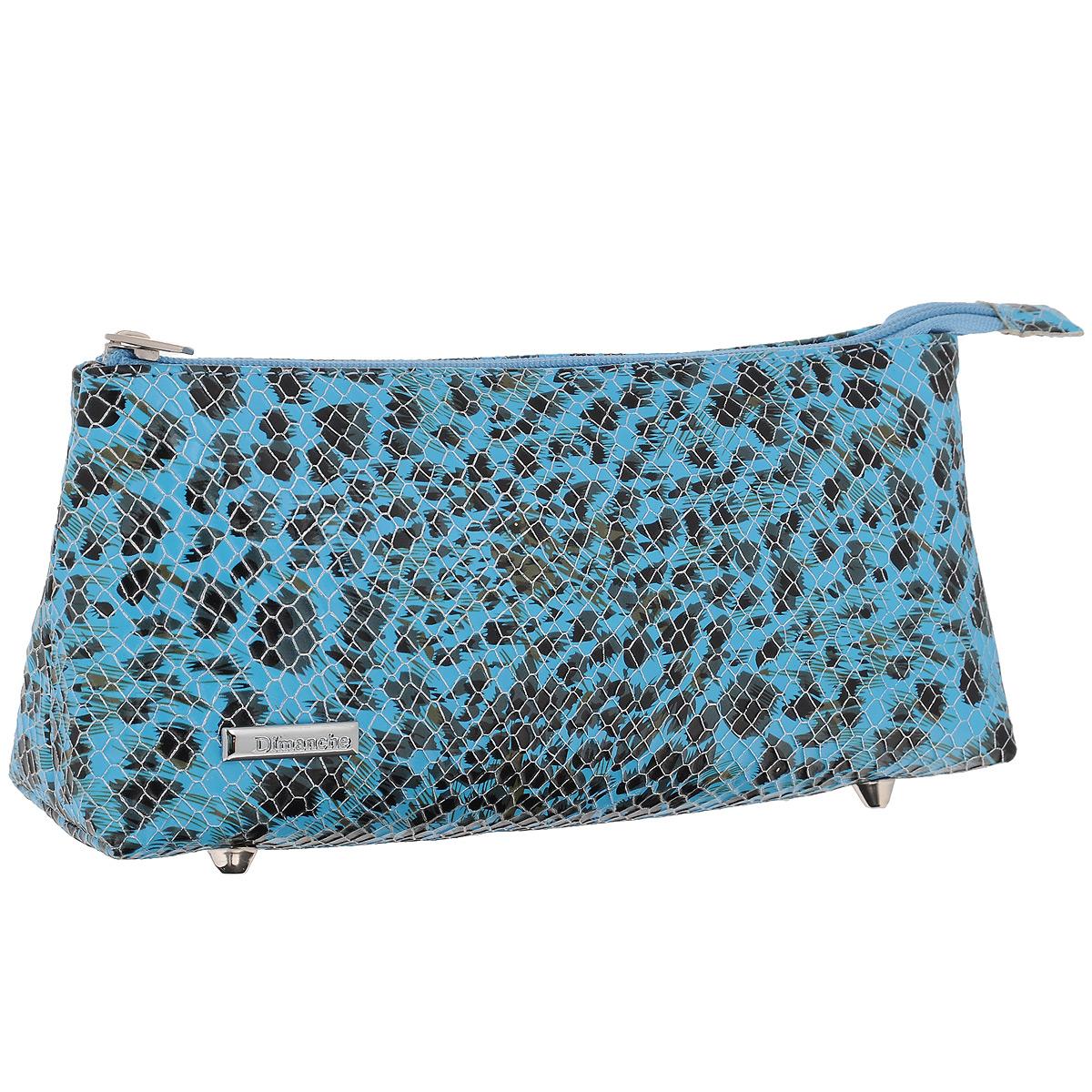 Косметичка Dimanche, цвет: голубой. 264B16-11416Косметичка Dimanche изготовлена из искусственной кожи голубого цвета с тиснением под рептилию. Внутри косметичка отделана атласным текстильным материалом. Изделие закрывается на застежку-молнию. Дно оснащено четырьмя металлическими ножками.Женская косметичка Dimanche - это стильный и полезный аксессуар для любой модницы. В косметичке поместится вся необходимая косметика, а благодаря компактным размерам ее всегда можно носить с собой в сумочке.