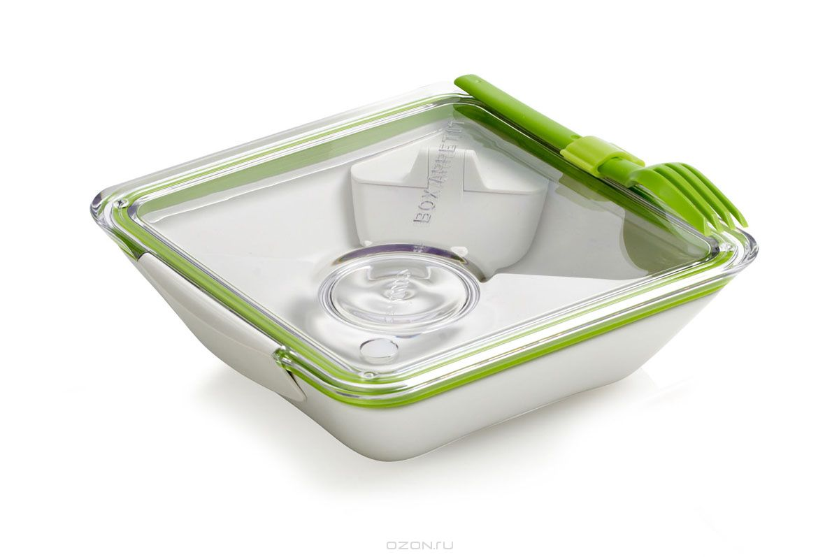 Ланч-бокс Black+Blum Box Appetit, цвет: белый, зеленый, 19 х 19 х 6 смVT-1520(SR)Ланч-бокс Black+Blum Box Appetit изготовлен из высококачественного пищевого пластика, устойчивого к нагреванию. Ланч-бакс имеет квадратную форму. Оснащен прозрачной вакуумной крышкой, которая закрывается на две защелки. Благодаря силиконовой прослойке, крышка плотно закрывается, обеспечивая герметичность и дольше сохраняя продукты свежими. В комплекте имеется соусник, контейнер для салатов или фруктов и вилка, которая крепится к крышке. Благодаря дополнительным контейнерам, еда из отделений не перемешивается между собой. Поэтому в одном ланч-боксе можно хранить вторые блюда, соус, фрукты или десерт. Благодаря компактным размерам, ланч-бокс поместится даже в дамскую сумочку.Можно использовать в микроволновой печи и мыть в посудомоечной машине.