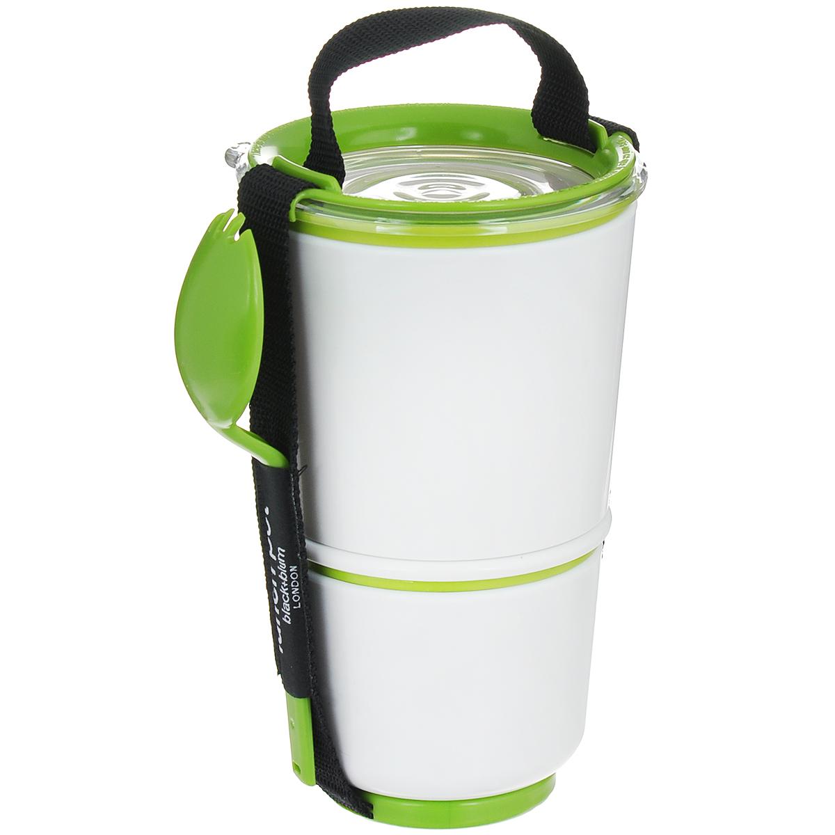 Ланч-бокс Black+Blum Lunch Pot, цвет: белый, зеленый, высота 19 смBP001Ланч-бокс Black+Blum Lunch Pot изготовлен из высококачественного пищевого пластика, устойчивого к нагреванию. Изделие представляет собой 2 круглых контейнера, предназначенных для хранения пищи и жидкости. Контейнеры оснащены герметичными крышками с надежной защитой от протечек, это позволяет взять с собой суп. В комплекте имеется текстильный ремешок с ручкой и пластиковая ложка-вилка.Благодаря компактным размерам, ланч-бокс поместится даже в дамскую сумочку, а также позволит взять с собой полноценный обед из первого и второго блюда.Можно использовать в микроволновой печи и мыть в посудомоечной машине.