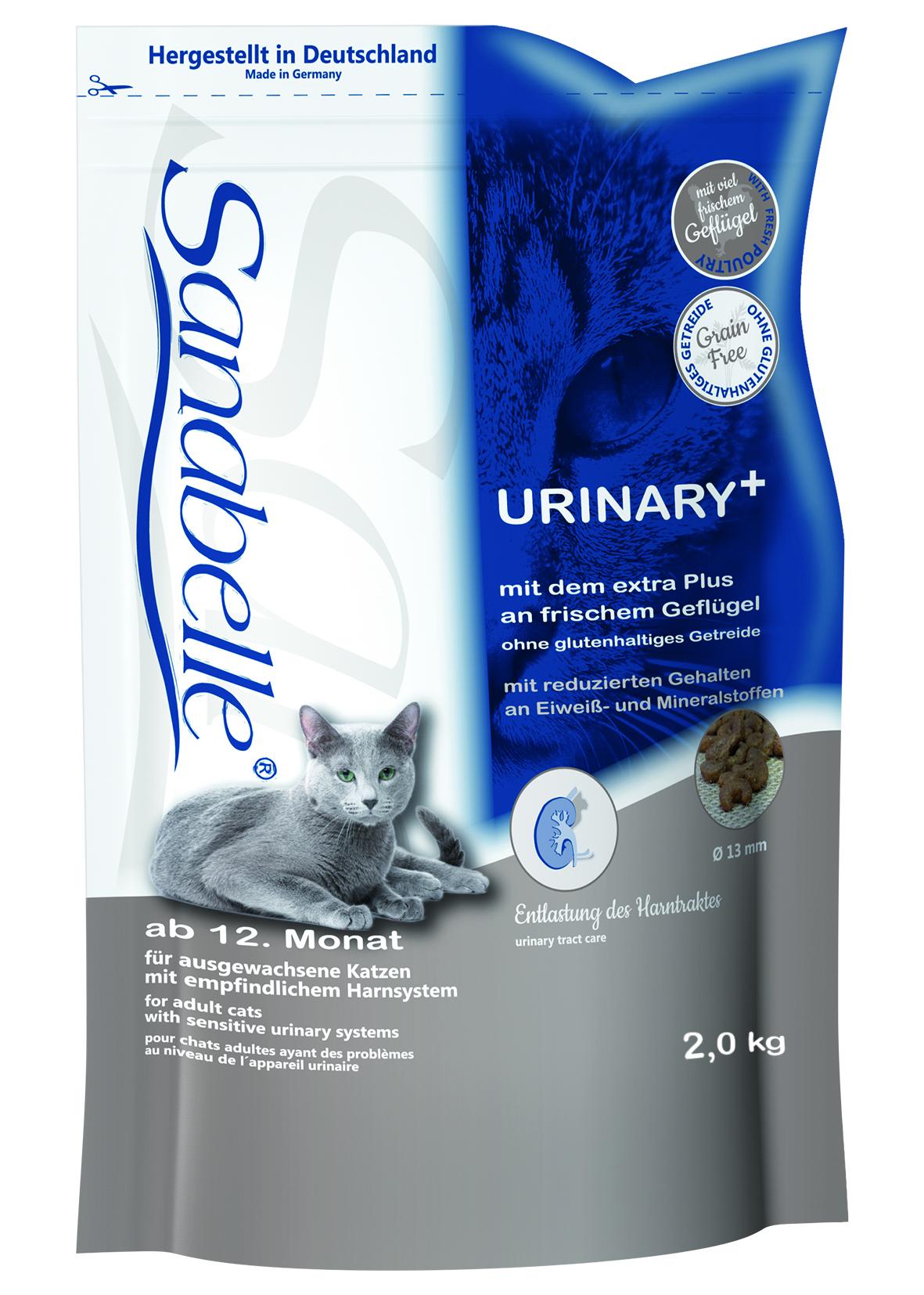 Корм сухой Sanabelle Urinary для кошек с чувствительной мочеполовой системой, 2 кг0120710Полностью сбалансированный высококачественный сухой корм для взрослых кошек с чувствительной мочеполовой системой. Ингредиенты: свежее мясо домашней птицы (мин. 20%), рис, животный жир, мука из свежего мяса, жировая клетчатка (дегидратированная), печень, гидролизованный протеин, свекольная пульпа (без сахара), клетчатка, льняное семя, рыбий жир, дрожжи, карбонат кальция, хлорид калия, клюква, черника, мука из мидий, цикориевая пудра, сушеные цветки бархатцев, экстракт юкки. Состав: протеин 24,5%, содержание жира 21,5%, клетчатка 4,5%, минеральные вещества 4,4%, магний 0,05%, влажность 10,0%. Экстрактивные вещества, не содержащие азот 35,1%.Основные добавки: Пищевые добавки на 1 кг корма: Витамин А 25.000 МЕ, Витамин Д3 1.500 МЕ, Витамин Е 600 мг, таурин 2.000 мг, медь (в форме сульфата меди (2), пентагидрат) 10 мг, цинк (в форме окиси цинка) 30 мг, цинк (в аминокислотной хелатной форме, гидрат) 70 мг, йод (в форме йодида кальция, безводный) 2 мг, селен (в форме селенита натрия) 0,2 мг. Товар сертифицирован.