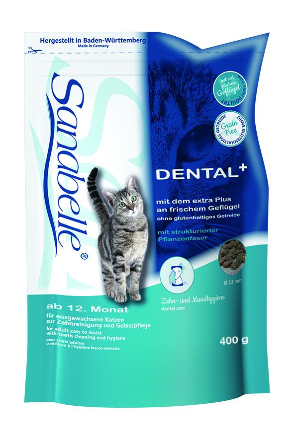 Корм сухой Sanabelle Dental для взрослых кошек, профилактика заболеваний зубной системы, 0,4 кг0120710Сухой корм Sanabelle Dental предназначен для взрослых кошек. Это полностью сбалансированный высококачественный сухой корм для профилактики заболеваний зубной системы и поддержания правильной микрофлоры ротовой полости. Специальный размер и структура гранул оказывают полировочный эффект на зубную поверхность. Использование фосфатов, которые связывают ионы кальция, не дают образовываться зубному камню.Состав: мясо домашней птицы, рис, ячмень, животный жир, клетчатка, печень, жировая клетчатка (дегидратированная), гидролизованное мясо, рыбная мука, яичный порошок, льняное семя, рыбий жир, натрия фосфат, дрожжи, хлорид калия, клюква, черника, мука из мидий, цикориевая пудра, сушеные цветки бархатцев, экстракт юкки.Добавки: витамин А 25000 МЕ, витамин D3 1500 МЕ, витамин Е 600 мг, таурин 2000 мг, медь (в форме сульфата меди (ll), пентагидрат) 10 мг, цинк (в форме окиси цинка) 30 мг, цинк (в аминокислотной хелатной форме, гидрат) 75 мг, йод (в форме йодида кальция, безводный) 2 мг, селен (в форме селенита натрия) 0,2 мг.Химический состав: протеин 30,5%, жиры 15,5%, клетчатка 6%, минеральные вещества 7%, магний 0,08%, влажность 10%, экстрактивные вещества, не содержащие азот 31%.Товар сертифицирован.