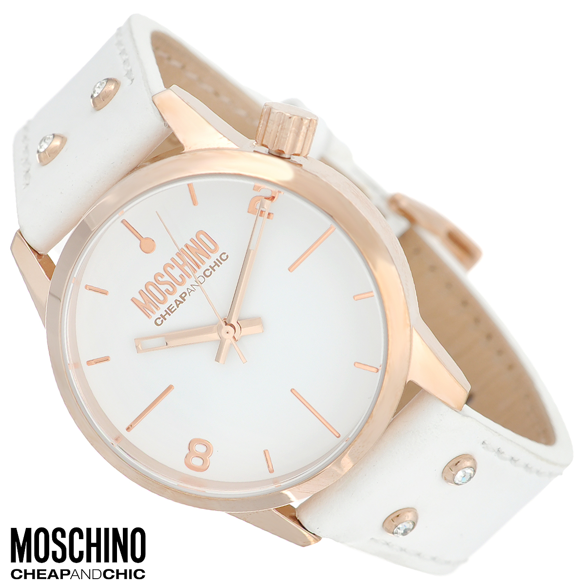 Часы женские наручные Moschino, цвет: белый, золотой. MW0280BM8434-58AEНаручные часы от известного итальянского бренда Moschino - это не только стильный и функциональный аксессуар, но и современные технологи, сочетающиеся с экстравагантным дизайном и индивидуальностью. Часы Moschino оснащены кварцевым механизмом. Корпус выполнен из высококачественной нержавеющей стали с PVD-покрытием. Циферблат с отметками и арабскими цифрами защищен минеральным стеклом. Часы имеют три стрелки - часовую, минутную и секундную. Ремешок часов выполнен из натуральной кожи, оснащен классической застежкой и декорирован стразами. Часы упакованы в фирменную металлическую коробку с логотипом бренда. Часы Moschino благодаря своему уникальному дизайну отличаются от часов других марок своеобразными циферблатами, функциональностью, а также набором уникальных технических свойств. Каждой модели присуща легкая экстравагантность, самобытность и, безусловно, великолепный вкус. Характеристики:Диаметр циферблата: 3,3 см.Размер корпуса: 3,8 см х 3,8 см х 1,1 см.Длина ремешка (с корпусом): 22,5 см.Ширина ремешка: 1,7 см.