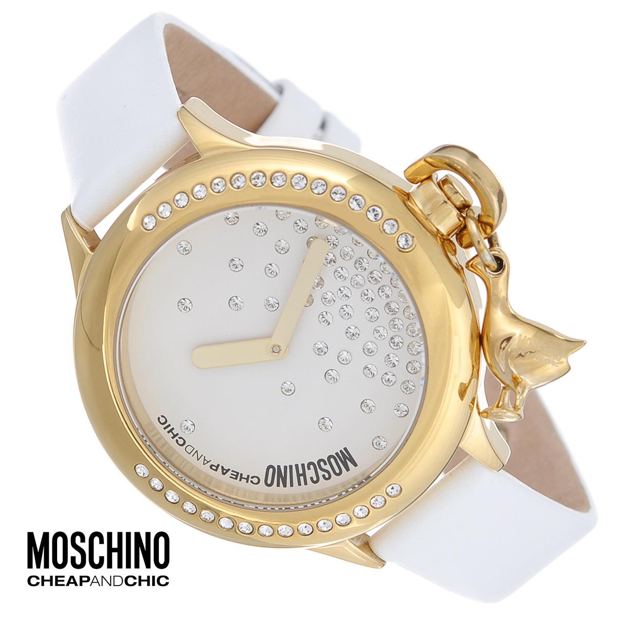 Часы женские наручные Moschino, цвет: белый, золотой. MW0044EQW-M710DB-1A1Наручные часы от известного итальянского бренда Moschino - это не только стильный и функциональный аксессуар, но и современные технологи, сочетающиеся с экстравагантным дизайном и индивидуальностью. Часы Moschino оснащены кварцевым механизмом. Корпус выполнен из высококачественной нержавеющей стали с PVD-покрытием. Циферблат декорирован россыпью кристаллов и защищен минеральным стеклом. Заводная головка оформлена подвеской в виде птицы. Часы имеют две стрелки - часовую и минутную. Ремешок часов выполнен из натуральной кожи и оснащен классической застежкой. Часы упакованы в фирменную металлическую коробку с логотипом бренда. Часы Moschino благодаря своему уникальному дизайну отличаются от часов других марок своеобразными циферблатами, функциональностью, а также набором уникальных технических свойств. Каждой модели присуща легкая экстравагантность, самобытность и, безусловно, великолепный вкус. Характеристики:Диаметр циферблата: 3 см.Размер корпуса: 4 см х 4 см х 1,1 см.Длина ремешка (с корпусом): 22 см.Ширина ремешка: 1,4 см.