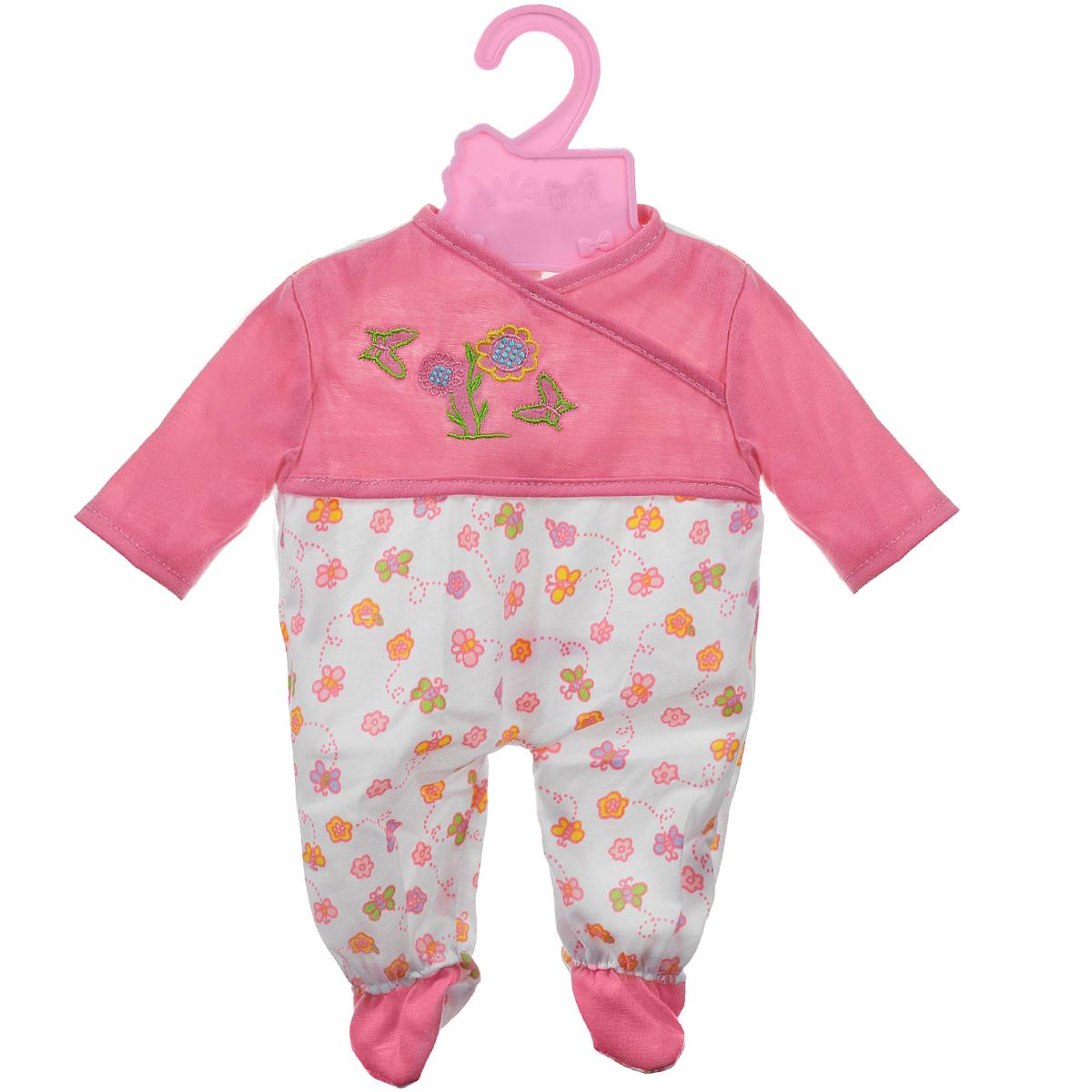 Куклы тоже любят менять наряды! Для них создается стильная и модная одежда, похожая на одежду маленьких детей. Этот бело-розовый комбинезон прекрасно подойдет кукле высотой 42 см. Груд комбинезона оформлена вышивкой в виде цветочков и бабочек, нижняя часть - принтом в виде бабочек и цветов. Застегивается изделие сзади на липучки. В комплект входят плечики розового цвета, на которые можно вешать комбинезон. В процессе игры любая девочка с удовольствием будет наряжать куклу, а, может быть, даже решит постирать одежку, пускай и в игрушечной стиральной машинке!