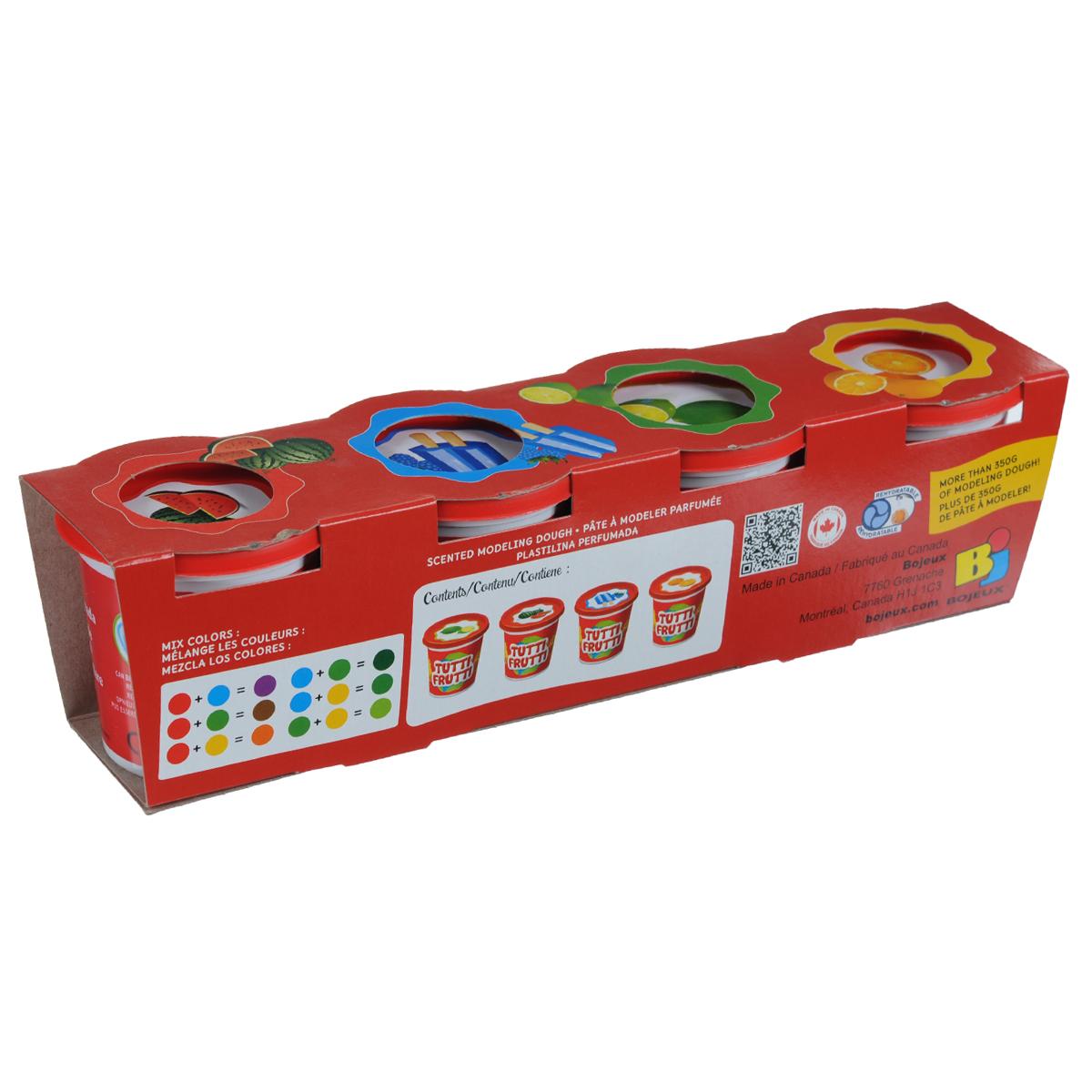 """Набор для лепки Bojeux """"Tutti Frutti"""" включает четыре баночки цветной массы оранжевого, зеленого, синего и красного цветов, имеющей приятный аромат апельсина, лайма, ежевики и арбуза соответственно. Масса имеет сильный соленый привкус, что убережет ребенка от ее проглатывания. Благодаря своей мягкости масса доставит малышу сплошное удовольствие во время лепки. Она не липнет к пальцам, не оставляет пятен и не рассыхается. Для восстановления достаточно добавить обычной воды. Масса для лепки - это не только игра, веселье и развлечение, но и развитие творческих навыков. Масса является безопасной для ребенка."""