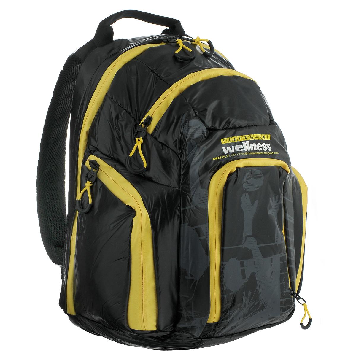 Рюкзак городской Grizzly, цвет: черный, желтый. RU-417-131264415Стильный молодежный рюкзак Grizzly выполнен из нейлона черного цвета и оформлен оригинальным принтом. Рюкзак оснащен одним большим отделением, закрывающимся на застежку-молнию. На передней стенке расположено 2 кармана, закрывающихся на застежки-молнии. По бокам 2 объемных кармана с застежками-молниями. Внутри расположен карман. Рюкзак оснащен лямками, мягкой спинкой и текстильной ручкой для удобной переноски.