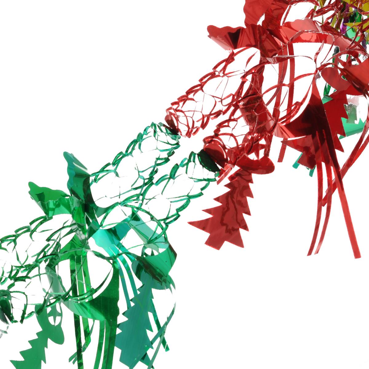 Новогодняя гирлянда Елочка с бахромой, цвет: мульти, 2,2 м. 3438231191Новогодняя гирлянда прекрасно подойдет для декора дома или офиса. Украшение выполнено из разноцветной металлизированной фольги. С помощью специальных петелек гирлянду можно повесить в любом понравившемся вам месте. Украшение легко складывается и раскладывается. Новогодние украшения несут в себе волшебство и красоту праздника. Они помогут вам украсить дом к предстоящим праздникам и оживить интерьер по вашему вкусу. Создайте в доме атмосферу тепла, веселья и радости, украшая его всей семьей.