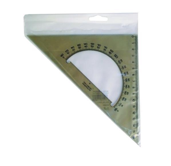 Линейка-треугольник Koh-i-Noor, с транспортиром, цвет: дымчатый745640Линейка-треугольник Koh-i-Noor на 16 сантиметров и углами на 90°, 45° и 45° выполнена из прозрачного пластика дымчатого цвета с ровной четкой миллиметровой шкалой делений. В центре линейки находится транспортир. Характеристики: Размер линейки: 17,5 см х 17,5 см.