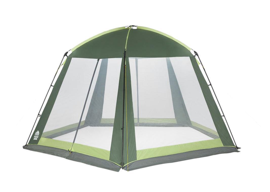 Шатер-тент TREK PLANET PICNIC DOME, пятиугольной формы, 395 см х 410 см х 215 см, цвет: зеленый, светло-зеленый70255Универсальный шатер пятиугольной формы TREK PLANET Picnic Dome с огромным внутренним помещением, отлично подойдет как для дачи, в качестве беседки или полевого навеса. Особенности шатра:- большие москитные сетки со всех сторон;- легко собирается и разбирается;- устойчив на ветру;- два входа в шатер;- двери из москитной сетки с молнией по центру, удобно сворачиваются по бокам;- каркас: боковые стойки из стали, потолочные дуги из прочного стеклопластика;- прочные и удобные адаптеры для дуг со стойками;- защитный полог по всему периметру защищает от насекомых.Палатка упакована в сумку-чехол с ручками, застегивающуюся на застежку-молнию. Размер в сложенном виде 20 см х 68 см.