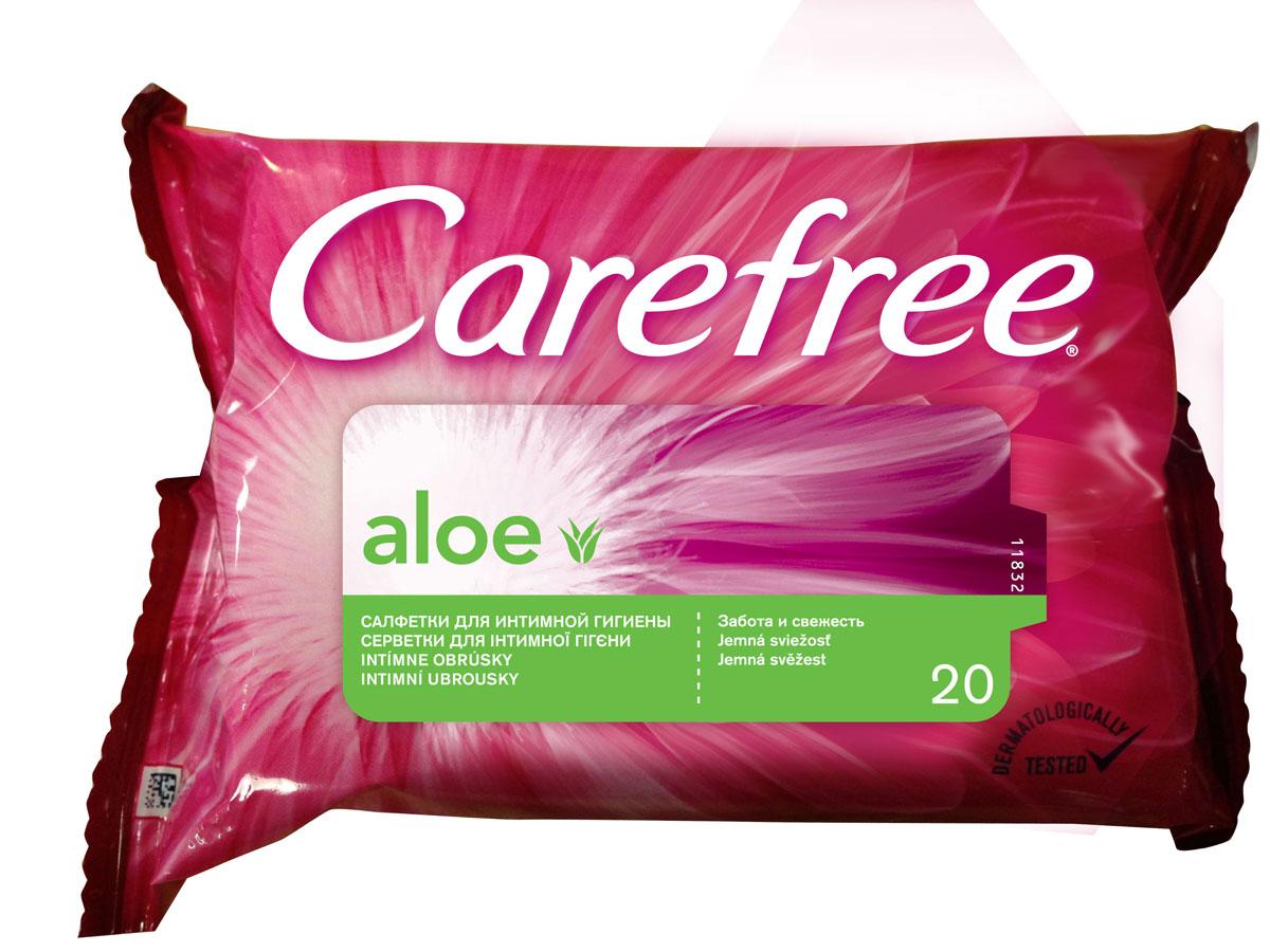 Carefree Салфетки влажные Алоэ, для интимной гигиены, 20 штMP59.3DОткройте секреты ежедневной свежести с влажными салфетками для интимной гигиены CAREFREE®. Они мягко очищают кожу и позволяют чувствовать свежесть в любое время.Содержат экстракт Алоэ.Они поддерживают естественный уровень pH и подходят для ежедневного применения всегда и везде. Товар сертифицирован.