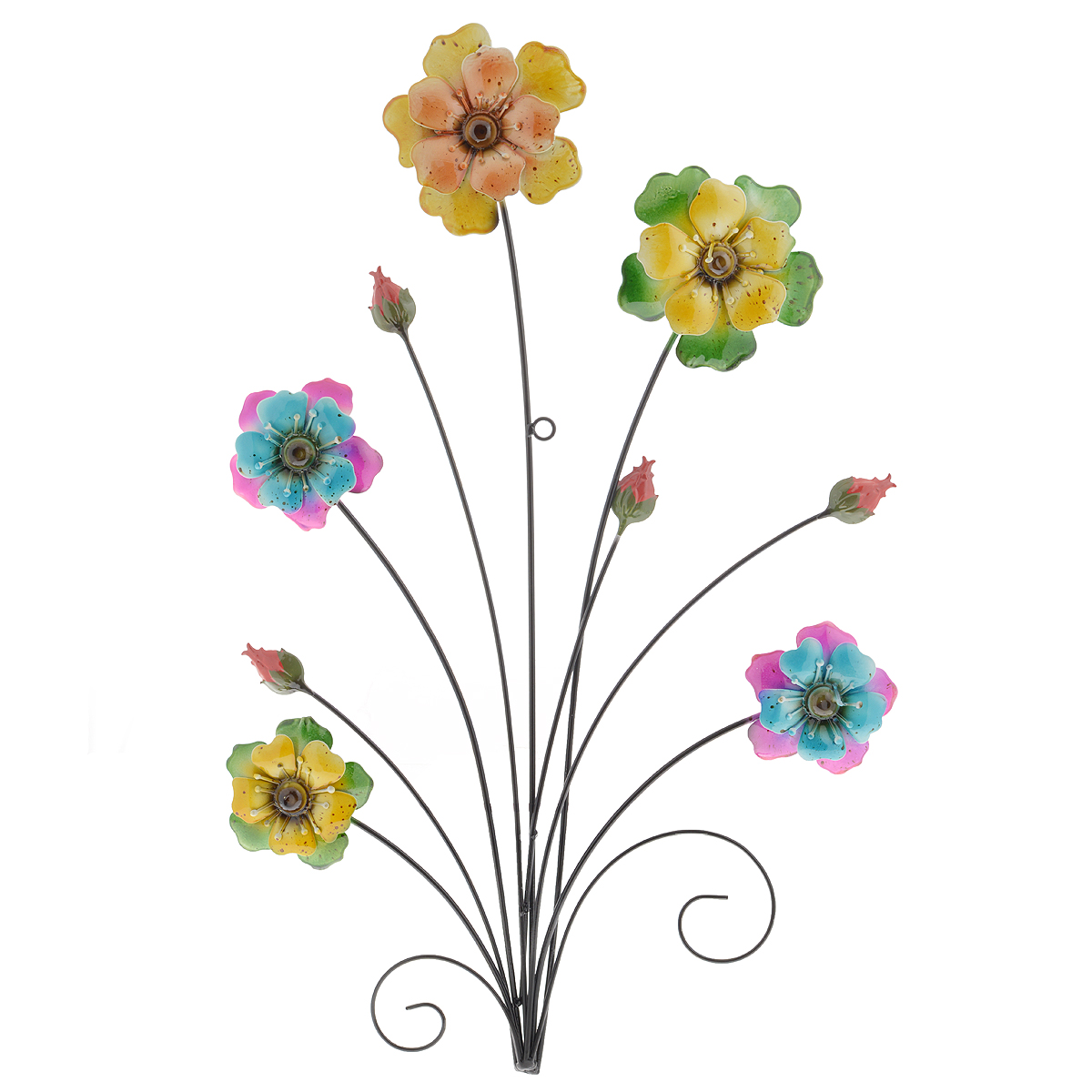 Панно декоративное настенное Molento Цветы. 576-063300146_желтый, осликДекоративное настенное панно Molento Цветы, изготовленное из металла, позволит вам украсить интерьер дома, рабочего кабинета или любого другого помещения оригинальным образом. Изделие выполнено в виде букета из ярких цветов разных размеров. Панно имеет рельефную поверхность и оснащено специальным отверстием для подвешивания.С таким панно вы сможете не просто внести в интерьер элемент оригинальности, но и создать атмосферу загадочности и изысканности.