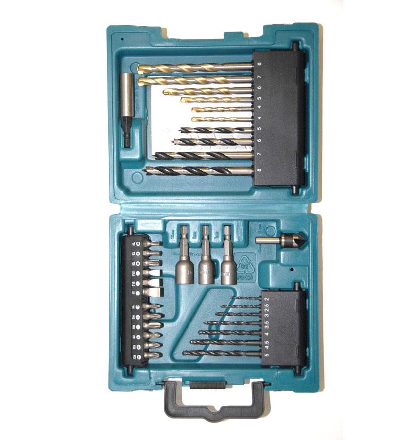 Набор оснастки Makita D-36980, 34 предмета80621Набор оснастки Makita предназначен для работы с резьбовыми соединениями, а также для строительных работ. Инструменты выполнены из высококачественной стали.Состав набора:Биты: T20, T25, T30, SL1, SL1,2, SL1,6, PH1, PH2, PH3, PZ1, PZ2, PZ3.Сверла по металлу: 2 мм, 2.5 мм, 3 мм, 3,5 мм, 4 мм, 4,5 мм, 5 мм.Зенкер.Держатель для бит.Головки торцевые: 7 мм, 8 мм, 10 мм.Сверла по дереву: 4 мм, 5 мм, 6 мм, 7 мм, 8 мм.Сверла по бетону: 4 мм, 5 мм, 6 мм, 7 мм, 8 мм.