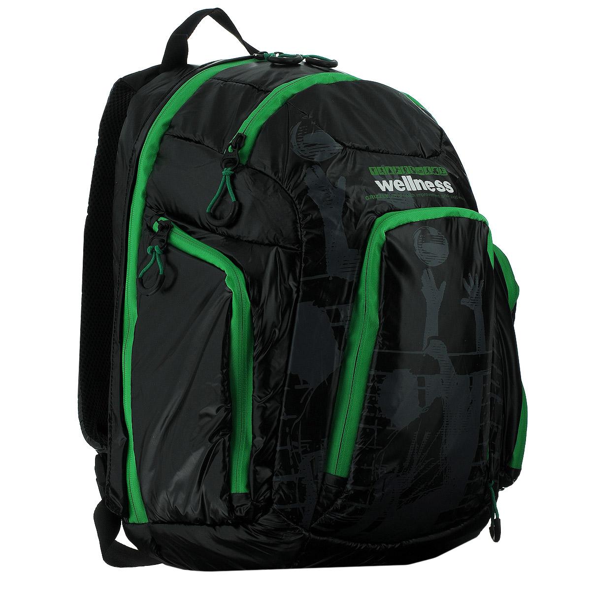 Рюкзак молодежный Grizzly, цвет: черный, зеленый. RU-417-1RU-707-2/4Стильный молодежный рюкзак Grizzly выполнен из нейлона черного цвета и оформлен оригинальным принтом. Рюкзак оснащен одним большим отделением, закрывающимся на застежку-молнию. На передней стенке расположено 2 кармана, закрывающихся на застежки-молнии. По бокам 2 объемных кармана с застежками-молниями. Внутри расположен карман. Рюкзак оснащен лямками, мягкой спинкой и текстильной ручкой для удобной переноски.