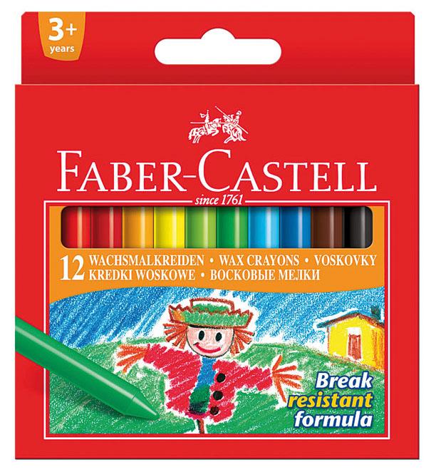 Восковые карандаши Faber-Castell, 12 цветов72523WDВосковые карандаши Faber-Castell прекрасно подойдут для развития детского творчества. Карандаши изготовлены на основе полимерных восков, натуральных наполнителей и высококачественных пигментов. Они не пачкаются, прочные, без запаха. Карандаши отличаются яркими и насыщенными цветами, позволяют проводить мягкие и ровные штрихи. Цвета: розовый, красный, темно-красный, оранжевый, желтый, светло-зеленый, зеленый, голубой, синий, коричневый, черный, белый.Восковые карандаши помогут ребенку развить творческие способности, воображение, цветовосприятие, мелкую моторику рук, усидчивость и аккуратность. Порадуйте своего ребенка таким восхитительным подарком! В комплекте: 12 восковых карандаша.
