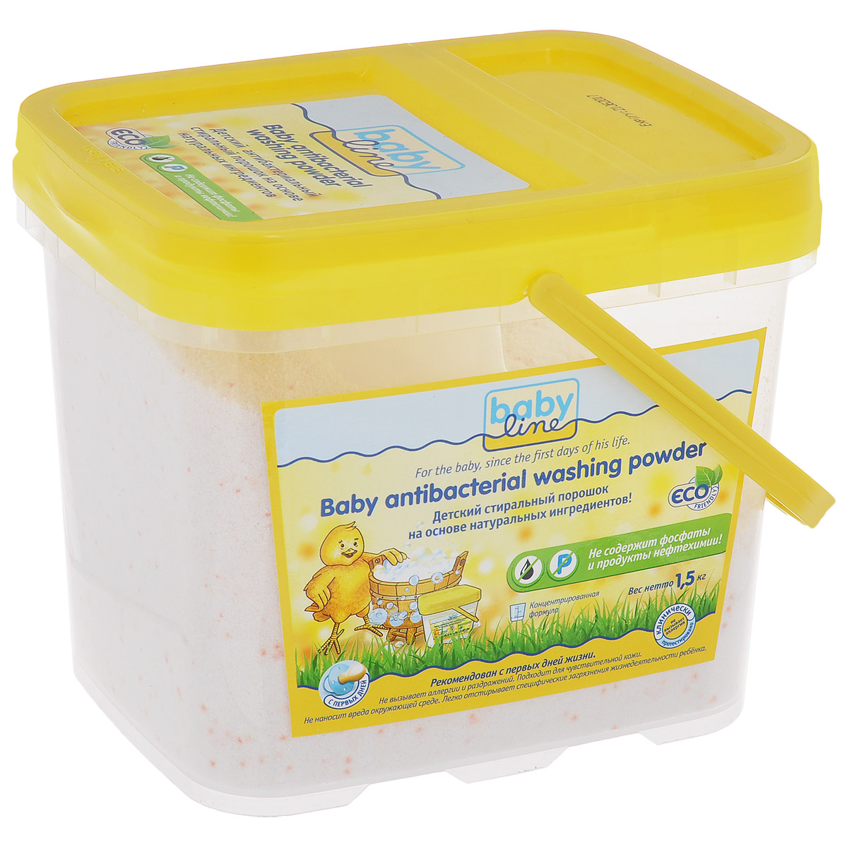 Babyline Стиральный порошок, детский, на основе натуральных ингридиентов, 1,5 кгS03301004Детский стиральный порошок на основе натуральных ингредиентов (Концентрат! 1,5 кг = 25 стирок). Рекомендован с первых дней жизни! Не содержит фосфатов и продуктов нефтехимии! Не наносит вреда окружающей среде. Не вызывает аллергии и раздражений. Подходит даже для чувствительной кожи.Подходит для стирки в автоматической стиральной машине.