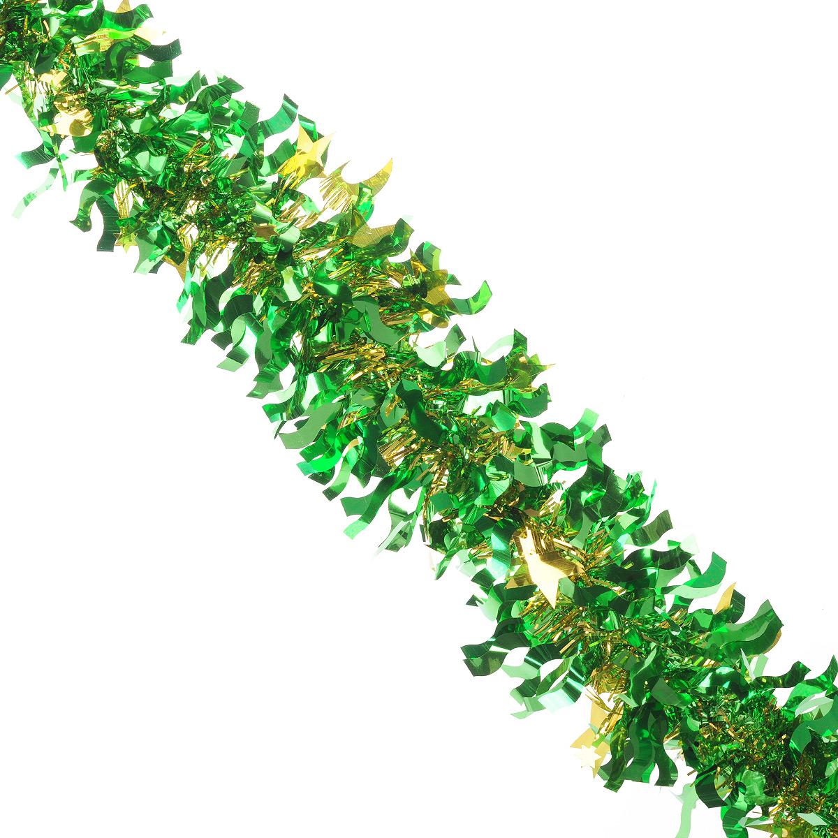 Мишура новогодняя Sima-land, цвет: золотистый, зеленый, диаметр 9 см, длина 2 м. 825979NLED-454-9W-BKНовогодняя мишура Sima-land, выполненная из фольги, поможет вам украсить свой дом к предстоящим праздникам. А новогодняя елка с таким украшением станет еще наряднее. Мишура армирована, то есть имеет проволоку внутри и способна сохранять приданную ей форму. Новогодней мишурой можно украсить все, что угодно - елку, квартиру, дачу, офис - как внутри, так и снаружи. Можно сложить новогодние поздравления, буквы и цифры, мишурой можно украсить и дополнить гирлянды, можно выделить дверные колонны, оплести дверные проемы. Коллекция декоративных украшений из серии Зимнее волшебство принесет в ваш дом ни с чем несравнимое ощущение праздника! Создайте в своем доме атмосферу тепла, веселья и радости, украшая его всей семьей.