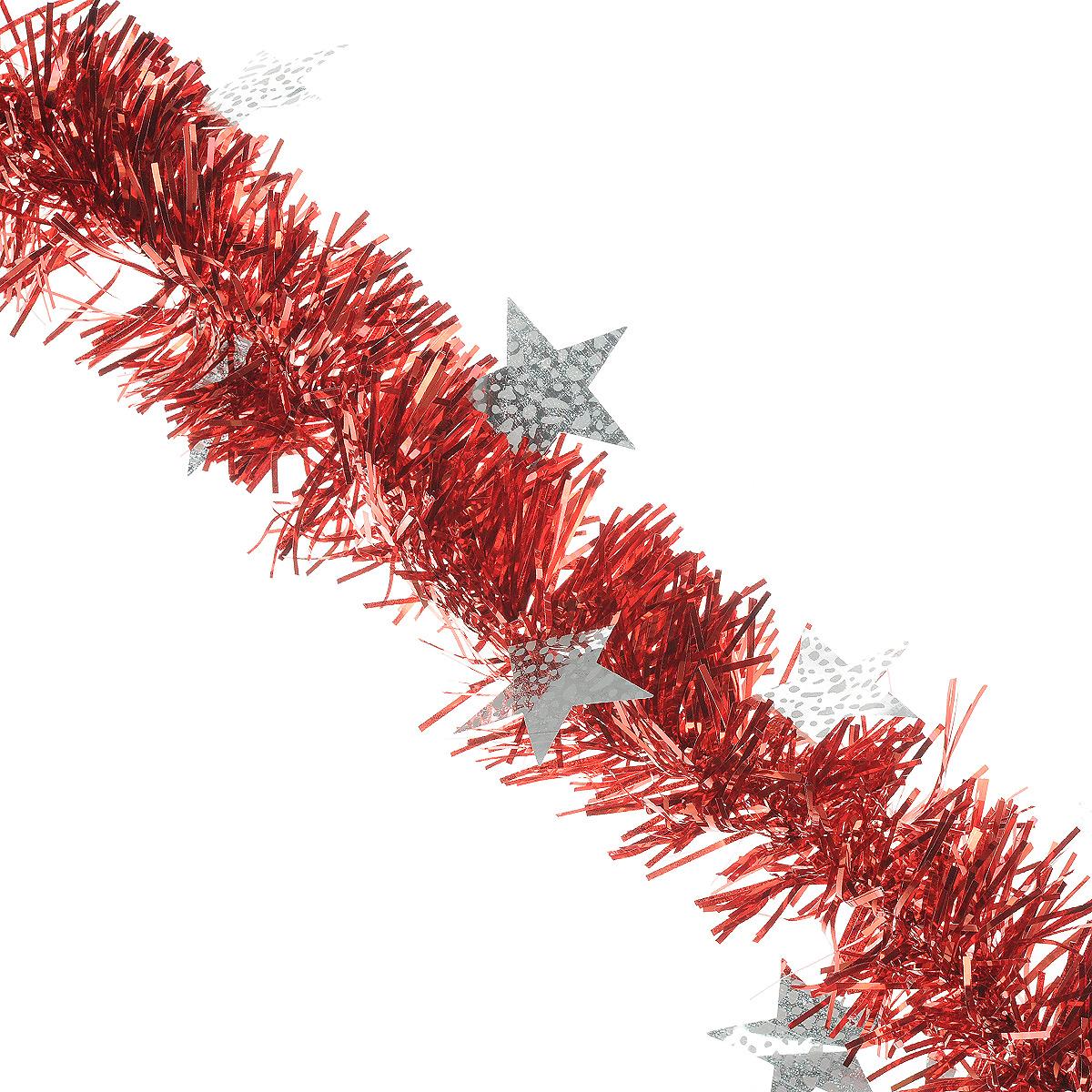 Мишура новогодняя Sima-land, цвет: красный, серебристый, диаметр 9 см, длина 2 м. 825983Ф21-2163Новогодняя мишура Sima-land, выполненная из ПЭТ (полиэтилентерефталат), поможет вам украсить свой дом к предстоящим праздникам. Изделие декорировано звездами. Новогодняя елка с таким украшением станет еще наряднее. Мишура армирована, то есть имеет проволоку внутри и способна сохранять форму. Новогодней мишурой можно украсить все, что угодно - елку, квартиру, дачу, офис - как внутри, так и снаружи. Можно сложить новогодние поздравления, буквы и цифры, мишурой можно украсить и дополнить гирлянды, можно выделить дверные колонны, оплести дверные проемы. Коллекция декоративных украшений из серии Magic Time принесет в ваш дом ни с чем не сравнимое ощущение волшебства! Создайте в своем доме атмосферу тепла, веселья и радости, украшая его всей семьей.