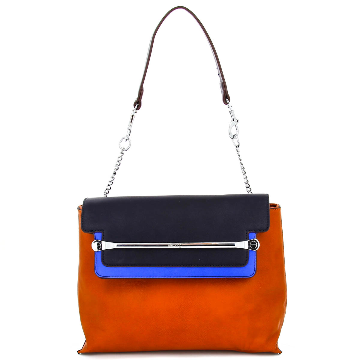 Сумка женская Dispacci, цвет: коричневый, синий, черный. 92020S76245Женская сумка Dispacci выполнена из экокожи и декорирована металлическим элементом. Сумка закрывается клапаном на магнитную кнопку. Сумка содержит одно отделение, внутри которого два накладных кармашка для мелочей и мобильного телефона, два кармана на застежках-молниях. С внешней стороны сумки расположен карман-накладка.Сумка оснащена ремнем-цепочкой с кожаной вставкой на плече, съемным плечевым регулируемым ремнем и основанием с двумя металлическими ножками.Фурнитура - серебристого цвета. Стильная женская сумка добавит вам очарования и сделает образ модным и актуальным.