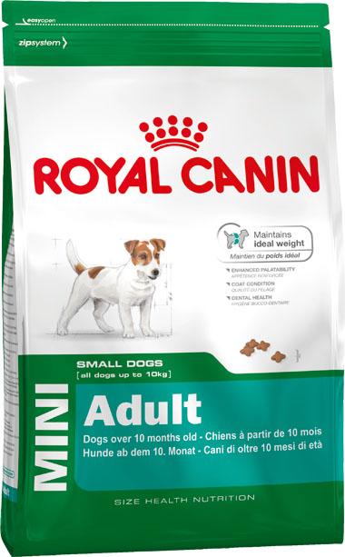 Корм сухой Royal Canin Mini Adult, для собак мелких размеров с 10 месяцев до 8 лет, 8 кг0120710Корм сухой Royal Canin Mini Adult - полнорационный сухой корм для поддержания прекрасной физической формы собак мелких размеров (вес взрослой собаки до 10 кг) с 10 месяцев до 8 лет.Поддержание идеального веса.L-карнитин стимулирует метаболизм жиров в организме. Удовлетворяет высокие энергетические потребности собак мелких размеров благодаря точно рассчитанной энергоемкости рациона (3737 ккал/кг) и сбалансированному содержанию белка (26%).Улучшенные вкусовые качества.Стимулирует аппетит благодаря своим уникальным свойствам. Текстура, форма и размер крокет специально разработаны для облегчения захвата корма. Тщательно отобранные ингредиенты, натуральные ароматизаторы и современная упаковка, сохраняющая свежесть и аромат продукта, гарантируют его превосходный вкус. Здоровая шерсть.Питает шерсть благодаря включению в состав корма серосодержащих аминокислот (метионин и цистин), жирных кислот Омега 6 и витамина А. Здоровье зубов.Помогает замедлить образование зубного налета благодаря полифосфату натрия, который связывает кальций, содержащийся в слюне. Состав: дегидратированные белки животного происхождения (птицы), кукуруза, кукурузная мука, животные жиры, кукурузная клейковина, изолят растительных белков, пшеница, гидролизат белков животного происхождения, рис, свекольный жом, минеральные вещества, рыбий жир, дрожжи, соевое масло, фруктоолигосахариды.Добавки (в 1 кг): питательные добавки: Витамин А: 22500 ME, Витамин D3: 1000 ME, Железо: 42 мг, Йод: 4,2 мг, Марганец: 55 мг, Цинк: 164 мг, Селен: 0,11 мг, L-картнитин: 50 мг. - Консервант: сорбат калия, Антиокислители: пропилгаллат, БГА.Товар сертифицирован.