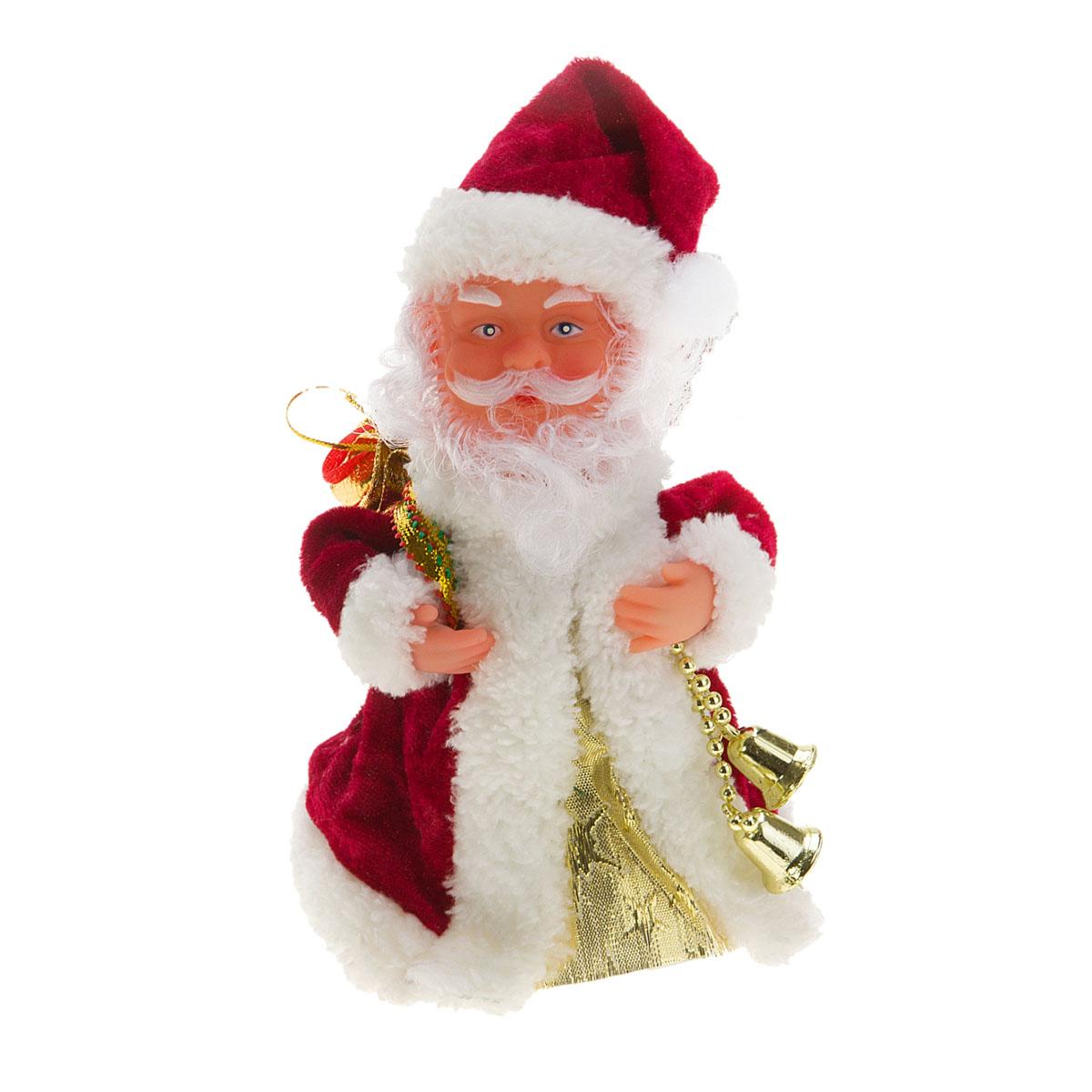 Новогодняя декоративная фигурка Sima-land Дед Мороз, анимированная, высота 18 см. 82779028799Новогодняя декоративная фигурка выполнена из высококачественного пластика в виде Деда Мороза. Дед Мороз одет в шубу с опушкой. На голове колпак в цвет шубы. В одной руке Дед Мороз держит мешок с подарками, а в другой - связку колокольчиков. Особенностью фигурки является наличие механизма, при включении которого играет мелодия, кукла начинает кружиться и двигаться, шевеля руками и головой. Его добрый вид и очаровательная улыбка притягивают к себе восторженные взгляды. Декоративная фигурка Дед Мороз подойдет для оформления новогоднего интерьера и принесет с собой атмосферу радости и веселья.