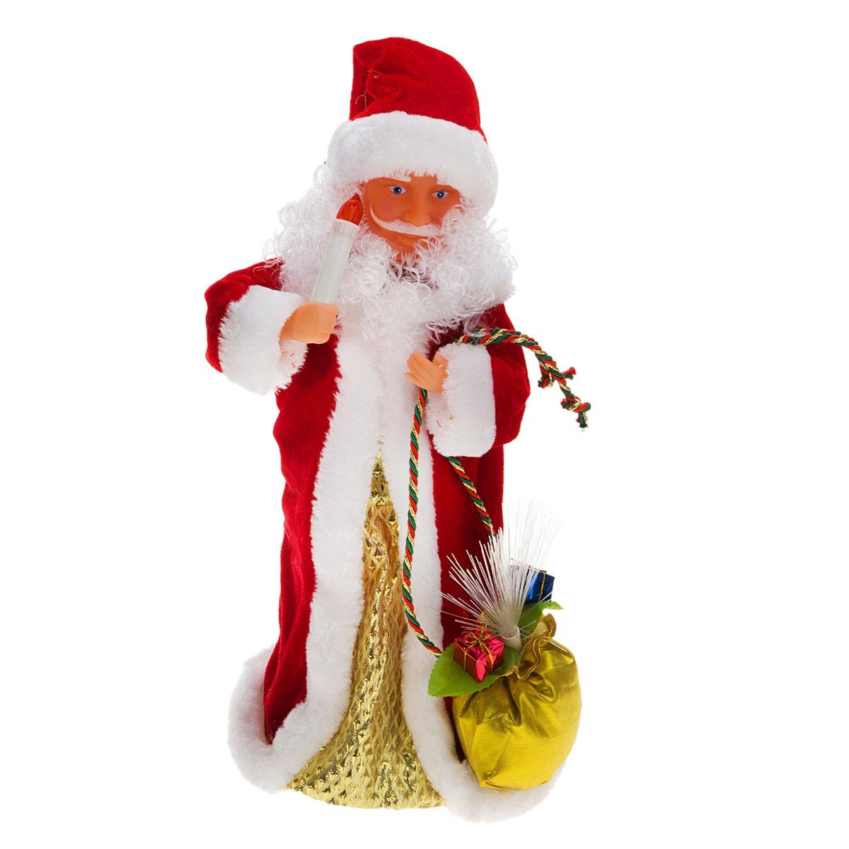 Новогодняя декоративная фигурка Sima-land Дед Мороз, анимированная, высота 38 см. 827811701537Новогодняя декоративная фигурка выполнена из высококачественного пластика в виде Деда Мороза. Дед Мороз одет в шубу с опушкой. На голове колпак в цвет шубы с бубенцом. В одной руке Дед Мороз держит свечку, а в другой мешок с подарками. В мешок встроен светильник на основе световодов из полимерного оптического волокна. Фигурка стоит на подставке. Особенностью фигурки является наличие механизма, при включении которого играет мелодия, свечка и мешок светятся, а голова и руки куклы начинают двигаться. Его добрый вид и очаровательная улыбка притягивают к себе восторженные взгляды. Декоративная фигурка Дед Мороз подойдет для оформления новогоднего интерьера и принесет с собой атмосферу радости и веселья. УВАЖАЕМЫЕ КЛИЕНТЫ!Обращаем ваше внимание на тот факт, что декоративная фигурка работает от трех батареек типа АА/R6/AM3 напряжением 1,5V. Батарейки в комплект не входят.