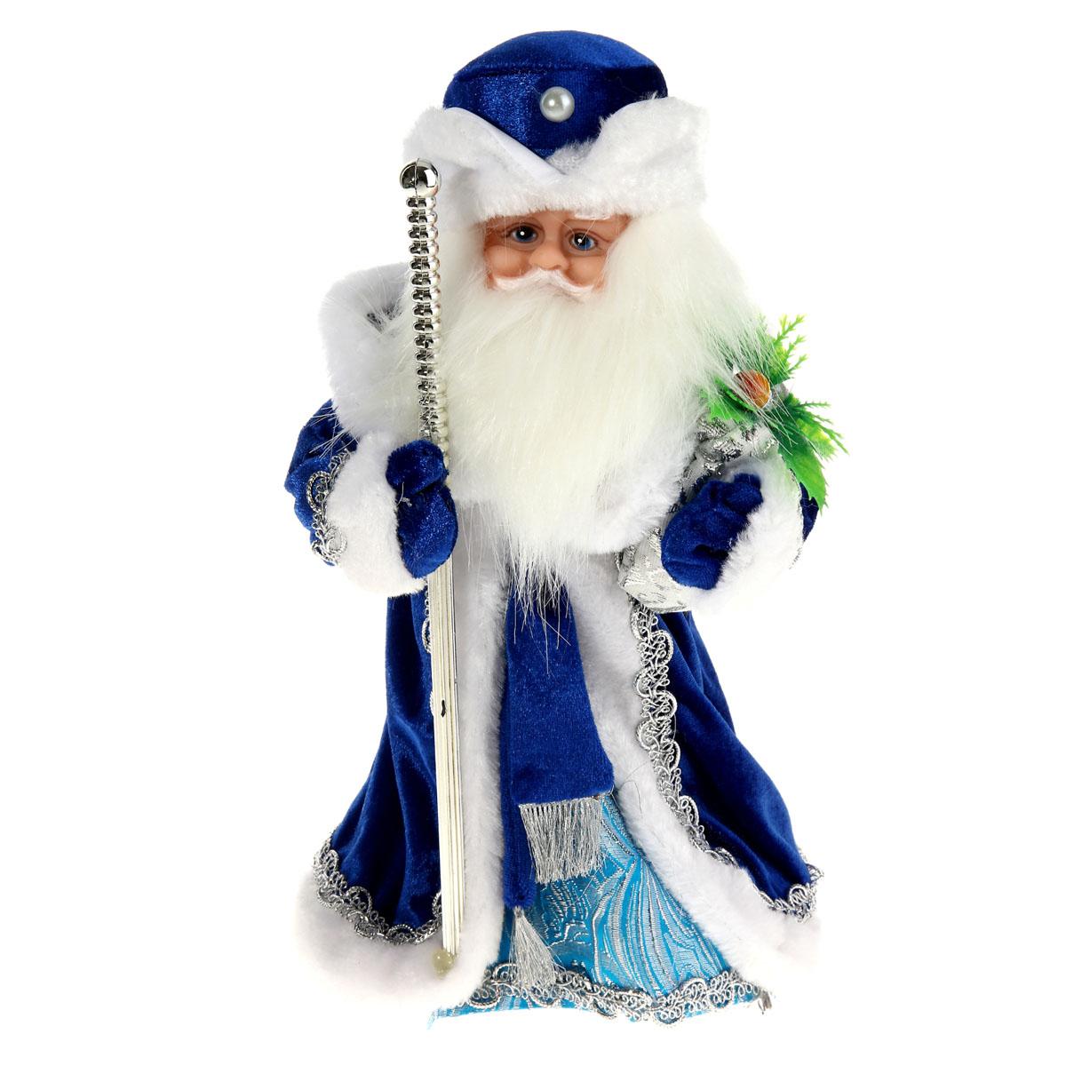 Новогодняя декоративная фигурка Sima-land Дед Мороз, анимированная, высота 28 см. 827839A1484FN-1BNНовогодняя декоративная фигурка Деда Мороза выполнена из высококачественного пластика. Дед Мороз одет в шубу с опушкой, украшенную тесьмой и варежки. На голове - шапка в цвет шубы. В одной руке Дед Мороз держит посох, а в другой мешок - с подарками. Игрушка стоит на пластиковой подставке. Особенностью фигурки является наличие механизма, при включении которого играет мелодия, а голова и руки куклы начинают двигаться. Его добрый вид и очаровательная улыбка притягивают к себе восторженные взгляды. Декоративная фигурка Дед Мороз подойдет для оформления новогоднего интерьера и принесет с собой атмосферу радости и веселья. УВАЖАЕМЫЕ КЛИЕНТЫ!Обращаем ваше внимание на тот факт, что декоративная фигурка работает от трех батареек типа АА напряжением 1,5 В. Батарейки в комплект не входят.