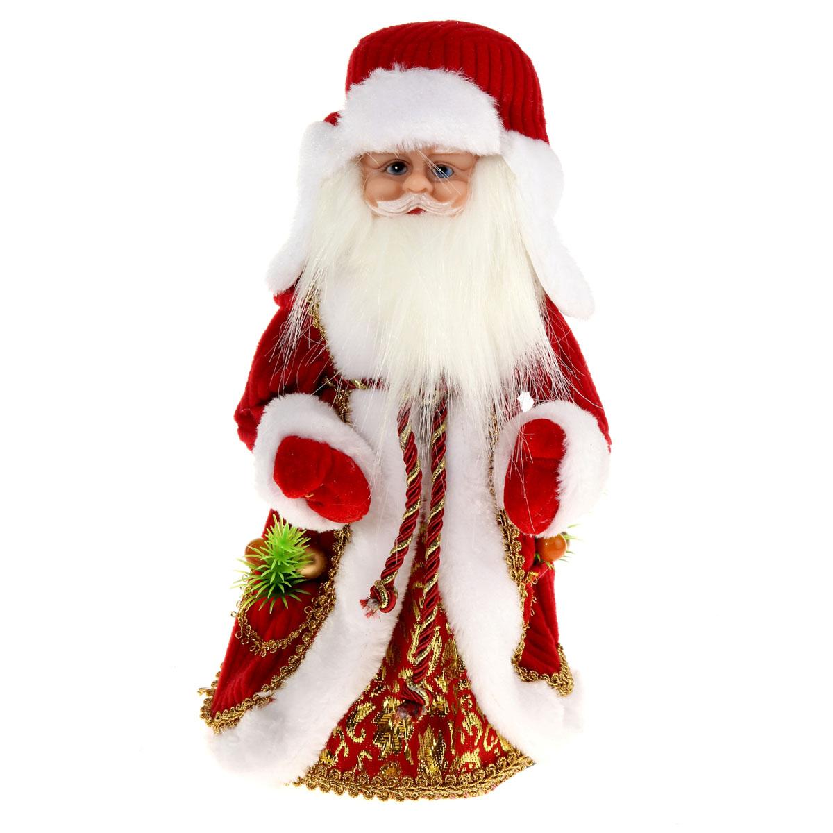 Новогодняя декоративная фигурка Sima-land Дед Мороз, анимированная, высота 30 см. 827842701303Новогодняя декоративная фигурка Sima-land выполнена из высококачественного пластика в виде Деда Мороза. Дед Мороз одет в шубу с капюшоном и опушкой, украшенную тесьмой и варежки. На голове шапка в цвет шубы. Игрушка стоит на пластиковой подставке. Особенностью фигурки является наличие механизма, при включении которого играет мелодия, а голова и руки куклы начинают двигаться. Его добрый вид и очаровательная улыбка притягивают к себе восторженные взгляды. Декоративная фигурка Дед Мороз подойдет для оформления новогоднего интерьера и принесет с собой атмосферу радости и веселья. УВАЖАЕМЫЕ КЛИЕНТЫ!Обращаем ваше внимание на тот факт, что декоративная фигурка работает от трех батареек типа АА напряжением 1,5В. Батарейки в комплект не входят.