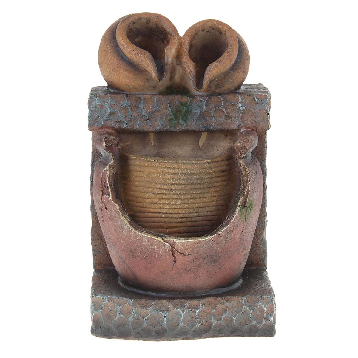 Фонтан Sima-land Кувшины. 851254758846Фонтан Sima-land Кувшины, изготовленный из полистоуна, украсит интерьер любого помещения. Изделие выполнено в виде двух опрокинутых кувшинов. По древнекитайскому учению Фен-Шуй фонтаны являются символами жизненной энергии, изобилия. В комнате их нужно размещать в зоне карьеры и удачи. Тогда фонтаны привлекут в ваш дом богатство, материальный достаток. Даже если вы не являетесь поклонником Фен-Шуй, фонтаны наполнят помещение тихим, мелодичным журчанием воды, что благотворно скажется на вашей нервной системе и позволит снять стресс.Каждому хозяину периодически приходит мысль обновить свою квартиру, сделать ремонт, перестановку или кардинально поменять внешний вид каждой комнаты. Фонтан - привлекательная деталь в обстановке, которая поможет воплотить вашу интерьерную идею, создать неповторимую атмосферу в вашем доме. Окружите себя приятными мелочами, пусть они радуют взгляд и дарят гармонию. Фонтан работает от сети 220В.