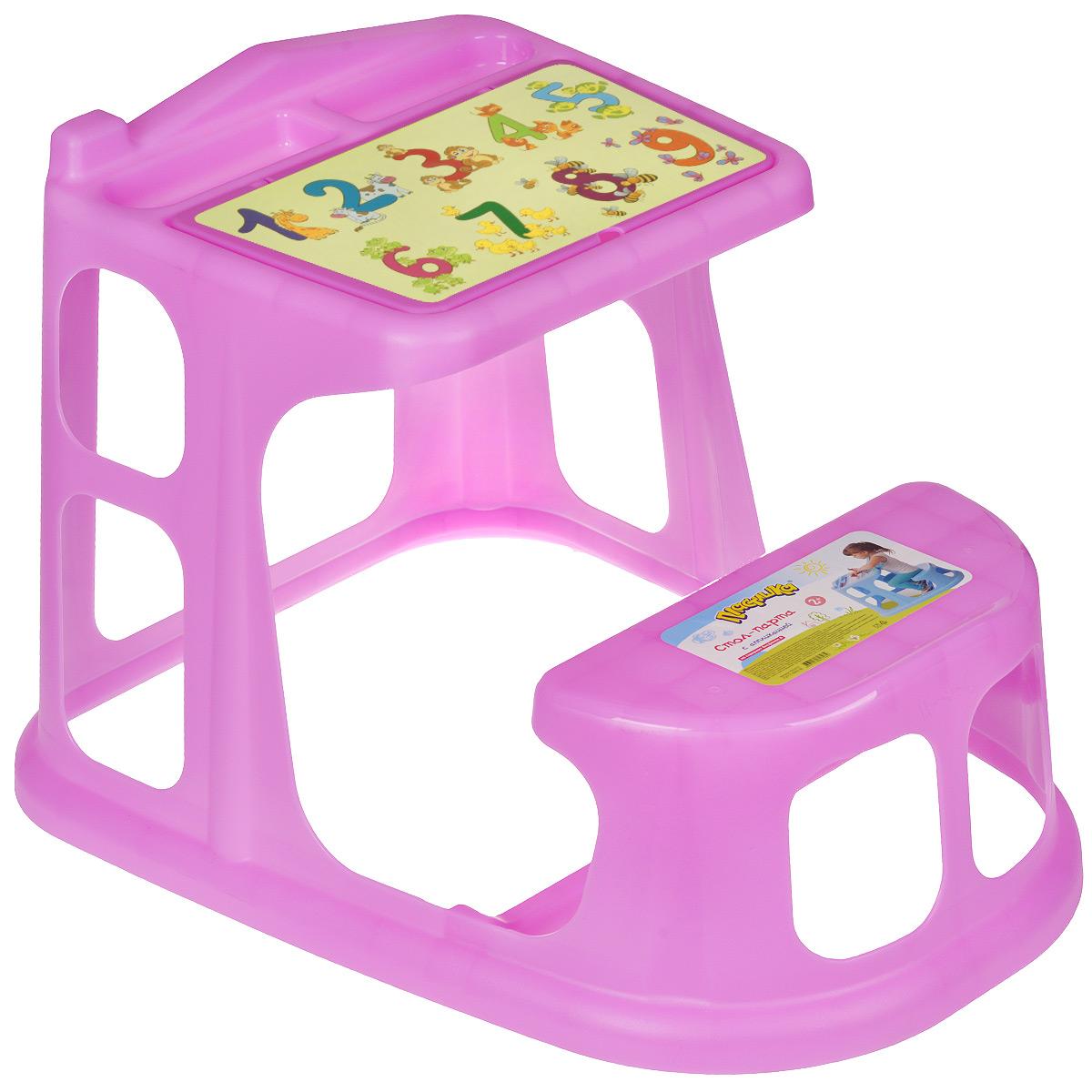 """Стол-парта """"Цифры"""", выполненная из прочного полипропилена без содержания бисфенола А, послужит для вашего малыша удобным рабочим местом во время конструирования, лепки, рисования или просто игры. Столешница с крышкой имеет специальные углубления для карандашей, кисточек и фломастеров, а под крышкой расположены три ниши для хранения красок, блокнотов и других мелочей. Крышка оформлена изображением цифр от 1 до 9. Парта имеет устойчивую конструкцию и безопасные закругленные углы и для удобства совмещена со скамейкой. Порадуйте своего ребенка таким замечательным подарком! Рекомендуемый возраст: от 2 лет."""