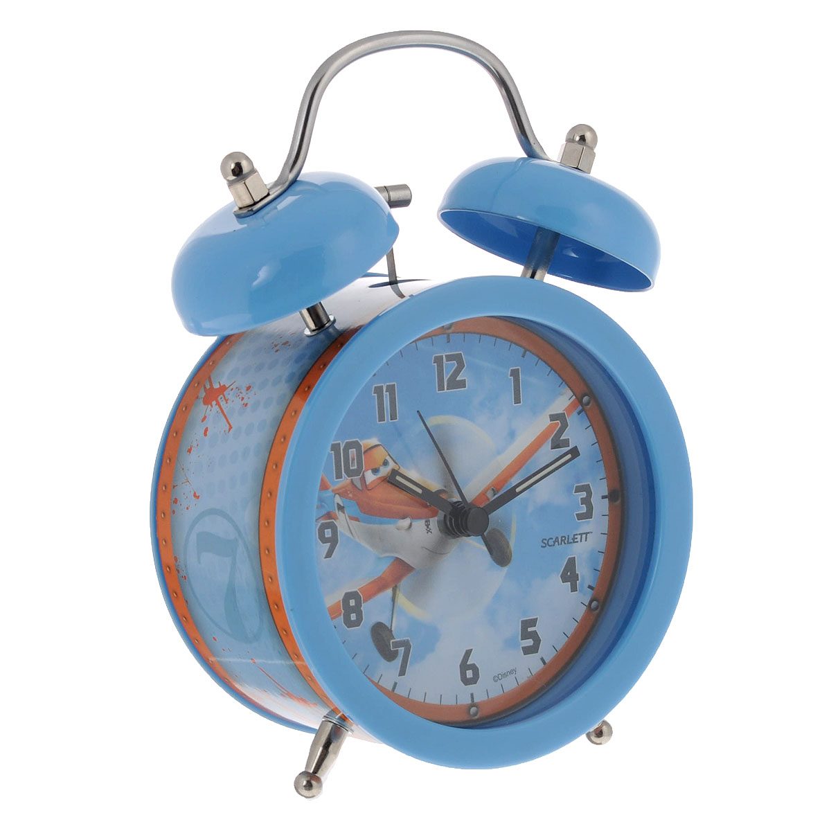 Будильник Scarlett Самолеты, цвет: голубой. SC-ACD05PL95544Будильник Scarlett Тачки с надежным кварцевым механизмом - это не только функциональное устройство, но и оригинальный элемент декора, который великолепно впишется в интерьер детской комнаты. Он снабжен четырьмя стрелками: часовой, минутной, секундной и стрелкой завода. Циферблат оформлен изображением Дасти из мультфильма Самолеты.Сверху будильника располагается механический звонок.Время включения будильника устанавливается колесиком, затем необходимо перевести переключатель в положение On. Сигнал будильника механический, работает до его отключения. Для этого необходимо перевести переключатель в положение Off.Отличительной особенностью этого будильника является то, что он обладает плавным, бесшумным ходом. В комплект входит инструкция по эксплуатации на русском языке.Порадуйте своего ребенка таким замечательным подарком!Не рекомендуется детям до 3-х лет.Необходимо докупить 1 батарейку напряжением 1,5V типа АА (не входит в комплект).