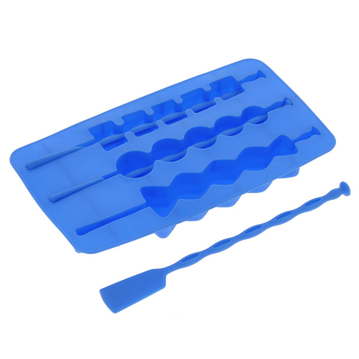 Форма для льда Fackelmann, на палочке, цвет: синий, 3 ячейкиVT-1520(SR)Форма Fackelmann выполнена из силикона и предназначена для приготовления льда на палочке. В комплект входят палочки для льда. Теперь на смену традиционным квадратным пришли новые оригинальные формы для приготовления фигурного льда, которыми можно не только охладить, но и украсить любой напиток. В формочки при заморозке воды можно помещать ягодки, такие льдинки не только оживят коктейль, но и добавят радостного настроения гостям на празднике!Можно мыть в посудомоечной машине.Размер формы: 20 х 11 х 2 см. Средний размер ячейки: 18,5 х 2,5 х 2 см. Количество ячеек: 3 шт. Количество палочек: 3 шт.