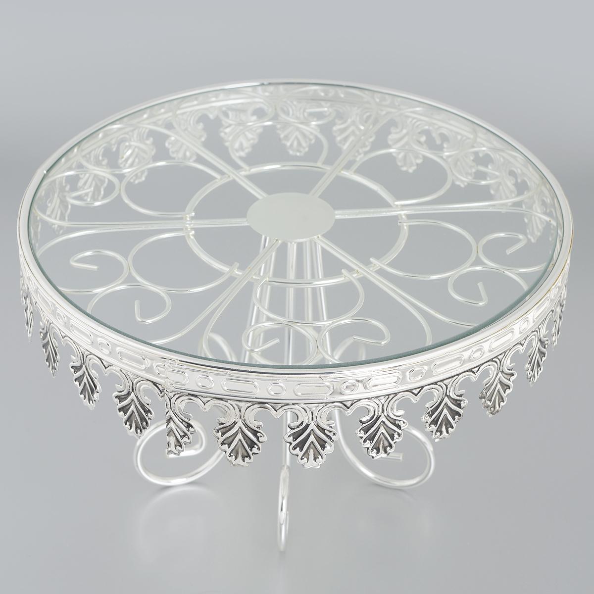 Подставка для торта Marquis, диаметр 31 см. 7056-MR115010Изысканная подставка для торта Marquis, выполненная в классическом стиле, великолепно украсит ваш праздничный стол. Изделие представляет собой металлическую подставку, выполненную из стали с никель-серебряным покрытием, на которую помещается круглое стеклянное блюдо. Подставка для торта Marquis идеально подойдет для сервировки стола и станет отличным подарком к любому празднику.