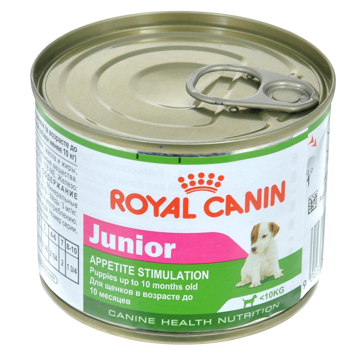 Консервы Royal Canin Junior, для щенков мелких пород, 195 г55030015Консервы Royal Canin Junior - полнорационный корм для щенков в возрасте до 10 месяцев, который обладает высокой вкусовой привлекательностью и способен удовлетворить потребности щенка в питании в период роста.Состав: мясо и мясные субпродукты, злаки, масла и жиры, субпродукты растительного происхождения, минеральные вещества. Добавки (в 1 кг): питательные добавки: Витамин D3: 118 ME, Железо: 6,5 мг, Йод: 0,2 мг, Марганец: 2 мг, Цинк: 20 мг. Товар сертифицирован.