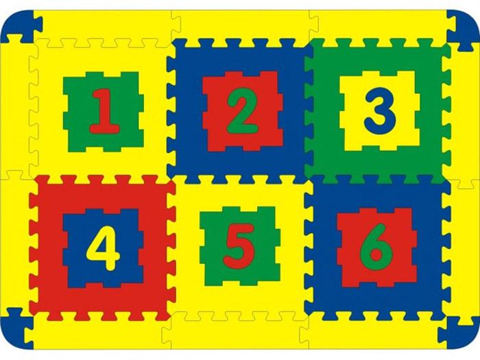 """Мягкий коврик-пазл """"Цифры"""" надолго займет внимание вашего малыша. Пазл состоит из 6 разноцветных плиток с изображением цифр от 1 до 6. Игры с ковриком-пазлом """"Цифры"""" способствуют развитию у малышей мелкой моторики рук, тактильных ощущений, фантазии, способности анализировать и сопоставлять детали, знакомят их с цифрами и понятиями формы, размера и цвета предмета. Коврик-пазл выполнен из экологически безопасного полимерного материала, обладающего большой плотностью, высоким сопротивлением нагрузкам на разрыв и сгиб, теплоизоляционными качествами и способностью сохранять форму и гибкость при охлаждении. Это обеспечивает комфорт и удобство в использовании в виде напольного покрытия в детской и ванной комнате, в спортивном зале."""