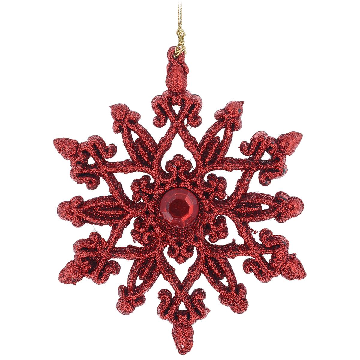 Новогоднее подвесное украшение Снежинка, цвет: красный, 10 см х 11 см35542Оригинальное новогоднее украшение из пластика прекрасно подойдет для праздничного декора дома и новогодней ели. Изделие крепится на елку с помощью металлического зажима.