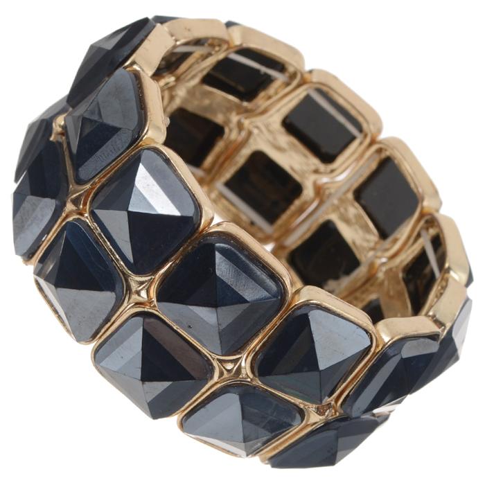 Браслет AtStyle247, цвет: золотистый, черный. T-B-8365-BRAC-GL.BLACKГлидерный браслетБраслет AtStyle247 изготовлен из металлического сплава из меди, цинка и железа, с пластиковыми вставками. Изделие выполнено в виде двух рядов ячеек с камнями на резинке.Это украшение позволит вам с легкостью воплотить самую смелую фантазию и создать собственный неповторимый образ. Красивое и необычное украшение блестяще подчеркнет ваш изысканный вкус и поможет внести разнообразие в привычный образ.