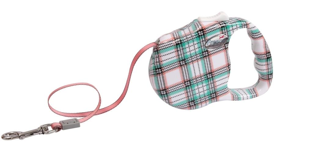 Поводок-рулетка Freego Шотландская клетка для собак до 23 кг, размер M, цвет: белый, зеленый, красный, 3 м поводок рулетка freego гепард для собак до 12 кг размер s цвет бежевый коричневый 3 м