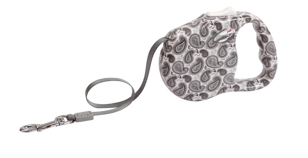 Поводок-рулетка Freego Турецкий огурец для собак до 23 кг, размер М, цвет: белый, серый, 3 м0120710Поводок-рулетка Freego Турецкий огурец изготовлен из пластика и нейлона. Корпус оформлен принтом в виде турецких огурцов. Выдвижная нейлоновая лента-поводок имеет хромированную застежку-карабин, с помощью которой надежно пристегивается к ошейнику. Поводок-рулетка Freego Турецкий огурец - это необходимый, практичный и стильный атрибут для прогулок с вашей собачкой. Его длину можно зафиксировать с помощью специальной кнопки. Длина поводка: 3 м. Максимальная нагрузка: 23 кг.