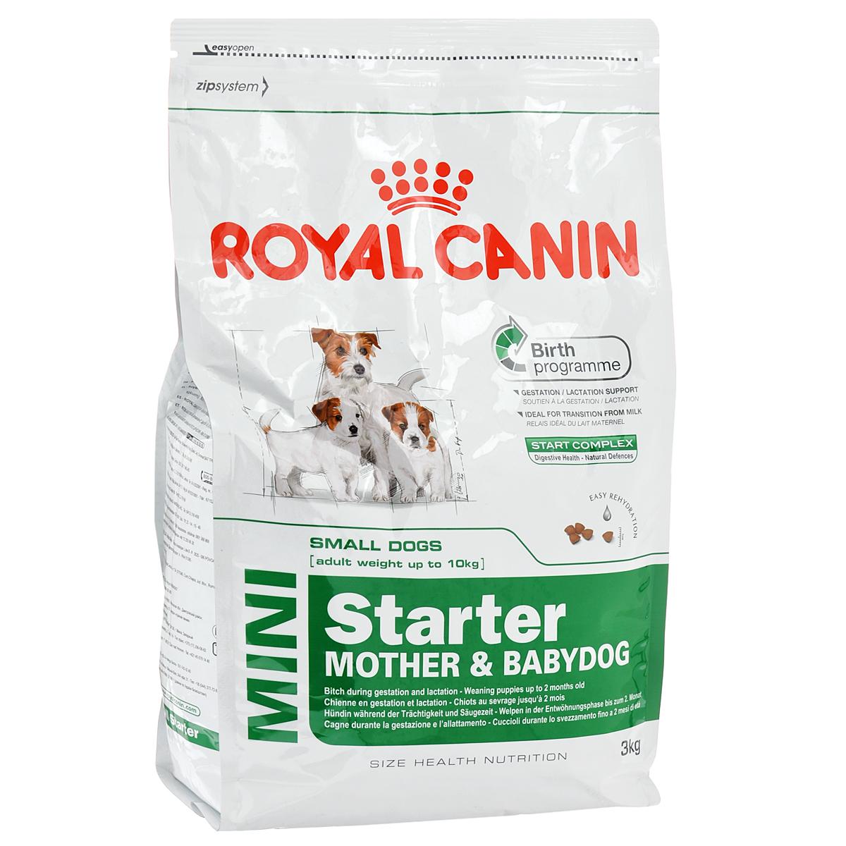 Корм сухой Royal Canin Mini Starter, для щенков и кормящих собак мелких пород, 3 кг8671Корм сухой Royal Canin Mini Starter - полнорационный корм для щенков в период отъема до 2-месячного возраста. Также подходит для сук в последней трети беременности и во время лактации.Основанная на данных профессиональных исследований, программа рождения - это уникальное диетологическое решение, которое удовлетворяет потребности суки и ее щенков на пяти этапах жизненного цикла: беременность, рождение, лактация, отъем и рост до 2 месяцев.Безопасность пищеварения - естественные механизмы защиты.Продукт современной науки от Royal Canin, START COMPLEX – это эксклюзивная комбинация питательных веществ, имеющихся в молоке матери, усиленная дополнительными веществами, которые активно способствуют безопасности пищеварения и укрепляют естественный иммунитет щенков.Поддержка во время беременности/лактации.Диетологическое решение, адаптированное к высоким потребностям суки в конце периода беременности и во время лактации. Идеальный продукт для перехода на твердый корм.Диетологическое решение, которое облегчает перевод щенка с молока матери на твердый корм (энергетическая ценность, качество белка, жиры). Легко размачивается.Крокеты легко размачиваются до консистенции каши и обладают высокой вкусовой привлекательностью для суки и щенков в период отъема.Состав: дегидратированное мясо птицы, рис, животные жиры, изолят растительного белка, кукуруза, свекольный жом, гидролизат белков животного происхождения, минеральные вещества, рыбий жир, соевое масло, фруктоолигосахариды, соль жирной кислоты, гидролизат дрожжей (источник манноолигосахаридов и бета-глюканов), экстракт бархатцев прямостоячих (источник лютеина).Добавки (в 1 кг): медь — 15 мг,железо — 209 мг,марганец — 74 мг/кг,цинк — 242 мг,селен — 0,16 мг,йод — 3,6 мг,витамин A — 21000 МЕ,витамин D3 — 1200 МЕ,витамин E — 600 мг,витамин C — 300 мг,витамин B1 — 5,1 мг,витамин B2 — 4,7 мг,витамин B6 — 10 мг,витамин B12 — 0,09 мг. Товар сертифицирова