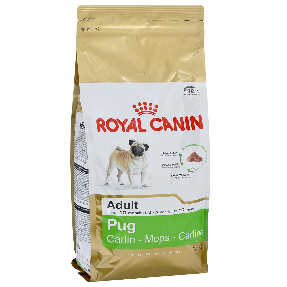 Корм сухой Royal Canin Pug Adult , для собак породы мопс от 10 месяцев, 1,5 кг0120710Корм сухой Royal Canin Pug Adult  - полнорационное питание для собак породы мопс от 10 месяцев.Мопс — это истинно аристократическая порода. Очаровательные небольшие собаки издавна были любимцами знати благодаря своему спокойному нраву и сильной привязанности к хозяину. При подборе корма для мопсов важно учесть специфическое строение их челюсти: чаще всего обычные крокеты им очень неудобно захватывать и разгрызать, что приводит к нарушениям пищеварительной системы и мочеиспускательного канала.Здоровая кожа.Новая формула поддерживает кожу собаки в идеальном состоянии.Мышечный тонус.Специализированный корм для мопсов способствует поддержанию мышечного тонуса. Идеальный вес.Продукт способствует гармоничному росту при сохранении идеального веса собаки благодаря снижению уровня жиров. Особая форма крокетов.Крокеты имеют форму трилистника, вследствие чего собаке становится гораздо удобнее их захватывать. Состав: рис, дегидратированное мясо птицы, кукурузная мука, кукуруза, животные жиры, пшеничная мука, изолят растительного белка, кукурузный глютен, гидролизованные животные белки, свекольный жом, растительная клетчатка, микроэлементы, растительные масла (сои и бурачника лекарственного), рыбий жир, фруктоолигосахариды, L-лизин, DL-метионин, натрия полифосфат, таурин, гидролизованные ракообразные (источник глюкозамина), L-карнитин, гидролизованные хрящи (источник хондроитина). Добавки (в 1 кг): йод — 5,6 мг,селен — 0,27 мг,медь — 15 мг,железо — 185 мг,марганец — 82 мг,цинк — 235 мг,витамин A — 31000 МЕ,витамин D3 — 800 МЕ,витамин E — 600 мг,витамин C — 300 мг,витамин B1 — 27 мг,витамин B2 — 48,6 мг,витамин B3 — 482,8 мг,витамин B5 — 145,2 мг,витамин B6 — 75,7 мг,витамин B12 — 0,13 мг. Товар сертифицирован.