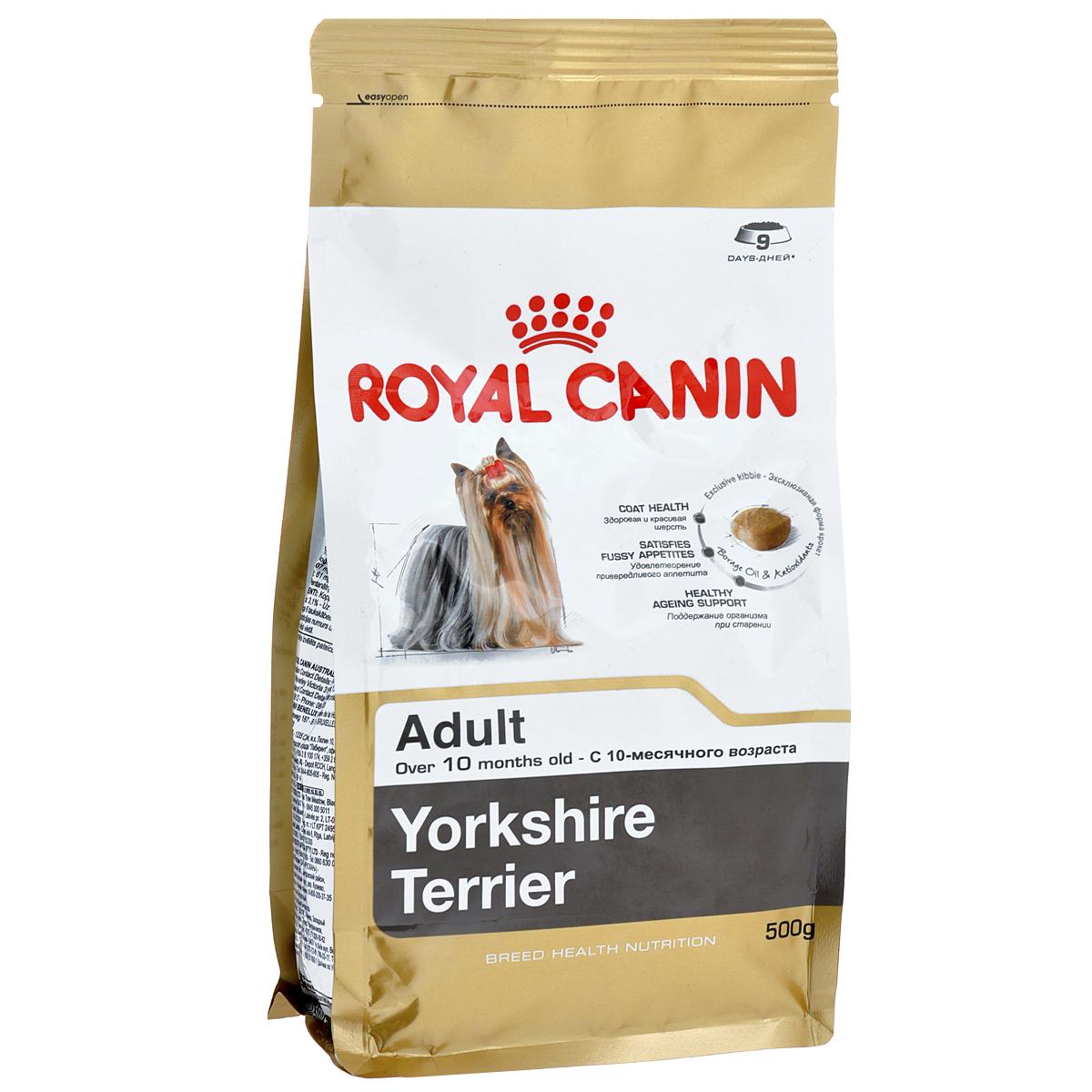 Корм сухой Royal Canin Yorkshire Terrier Adult, для собак породы йоркширский терьер в возрасте от 10 месяцев, 500 г0120710Корм сухой Royal Canin Yorkshire Terrier Adult - полнорационный корм для собак породы йоркширский терьер в возрасте от 10 месяцев.Йоркширский терьер — это сказочное создание, которое очаровывает с первой минуты знакомства с ним. Тоненькие, хрупкие и изящные йорки в силу своей физиологии нуждаются в максимальном поступлении в организм аминокислот, необходимых для развития шерсти и ее быстрого роста. Многие корма для йорков имеют крокеты слишком крупного размера, тогда как продукция Royal Canin Yorkshire Terrier Adult разработана специально для небольших челюстей этих собак. Здоровая шерсть.Эта эксклюзивная формула поддерживает здоровье и красоту шерсти йоркширского терьера. Корм обогащен жирными кислотами Омега-3 (EPA и DHA) и Омега-6, маслом бурачника и биотином. Вкусовая привлекательность.Благодаря высокой вкусовой привлекательности корм способен удовлетворить потребностидаже самых привередливых питомцев. Долголетие.Особый комплекс с питательными веществами помогает сохранить здоровье собаки в зрелом возрасте и способствует долголетию.Профилактика образования зубного камня.Благодаря хелаторам кальция и специально подобранной текстуре крокет, которая оказывает чистящее воздействие, корм помогает ограничить образование зубного камня. Состав: дегидратированные белки животного происхождения (птица), рис, кукурузная мука, животные жиры, изолят растительных белков, свекольный жом, гидролизат белков животного происхождения, минеральные вещества, соевое масло, рыбий жир, дрожжи, фруктоолигосахариды, гидролизат дрожжей (источник мaннановых олигосахаридов), масло огуречника аптечного (0,1 %), экстракт бархатцев прямостоячих (источник лютеина).Добавки (в 1 кг): йод — 5,2 мг,селен — 0,28 мг,медь — 15 мг,железо — 166 мг,марганец — 73 мг,цинк — 218 мг,витамин A — 31000 МЕ,витамин D3 — 800 МЕ,витамин E — 600 мг,витамин C — 300 мг,витамин B1 — 27 мг,витамин B2 